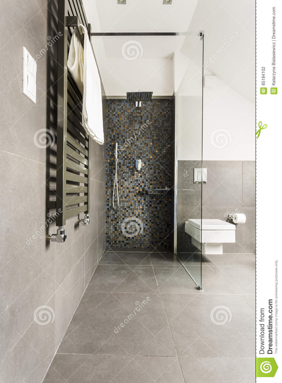 Grey Bathroom With Shiny Tiles Stock Photo Image Of Light Paper