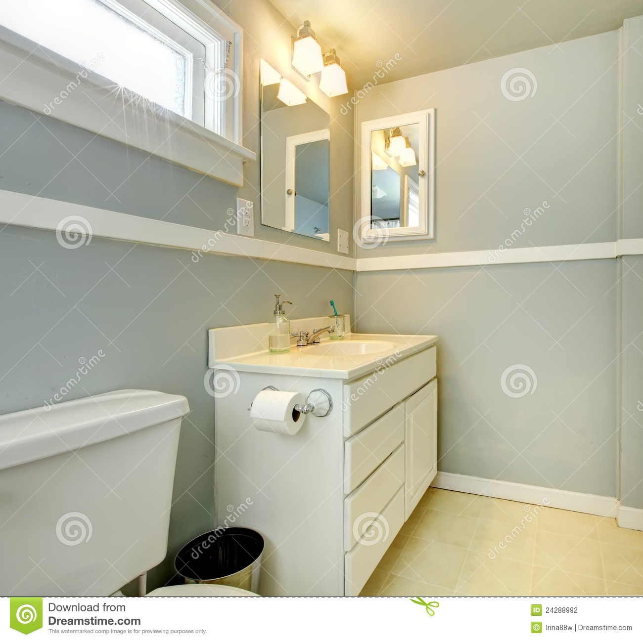 Grey Bathroom With White Simple Cabinet Stock Photography