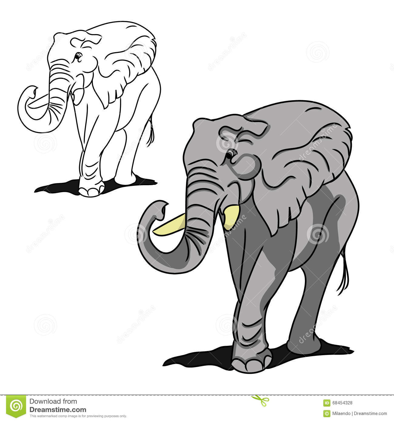 Grey Big Elephant (for Coloring) Stock Vector - Illustration of gray ...