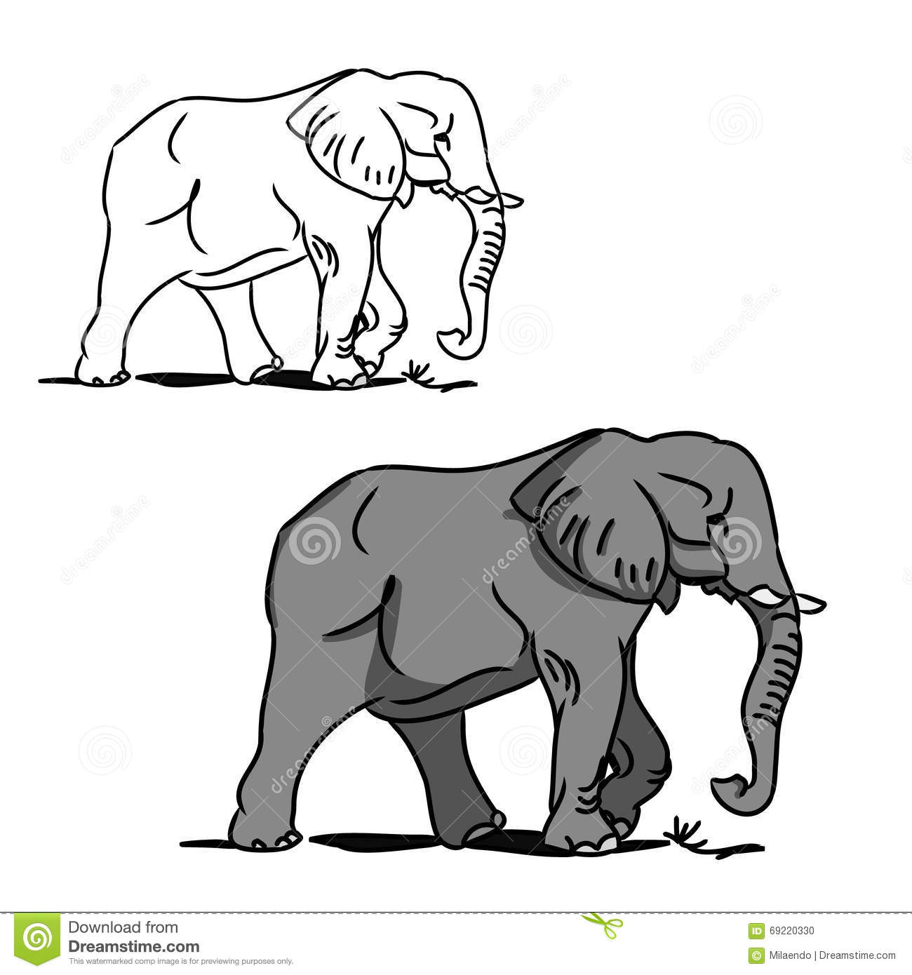 Grey Big Elephant (for Coloring) 0 Stock Vector - Illustration of ...