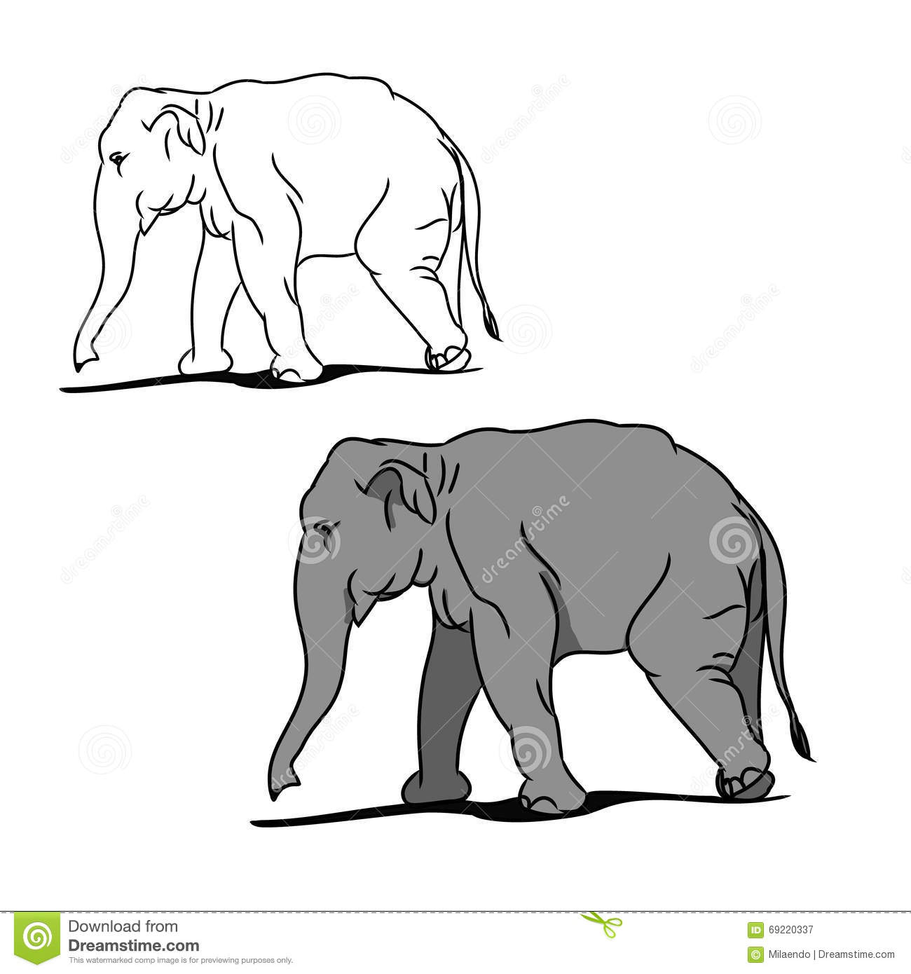 Grey Big Elephant (for Coloring) 02 Stock Vector - Illustration of ...