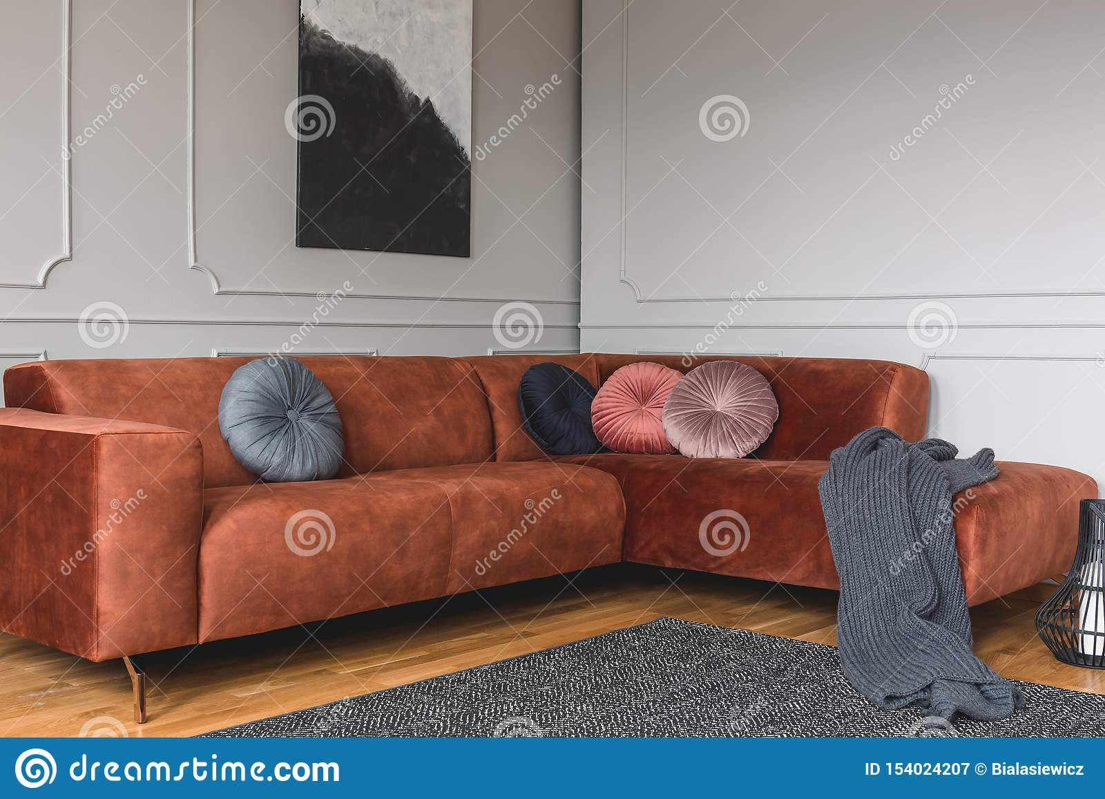 Grey, Black, Beige And Pink Round Velvet Pillows On Ginger ...