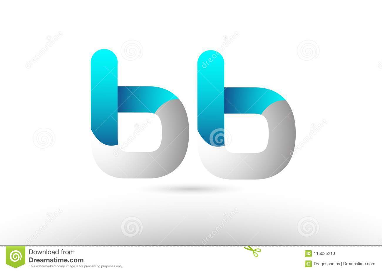 Grey Blue Alphabet Letter Bb B B Logo 3d Design Stock Vector