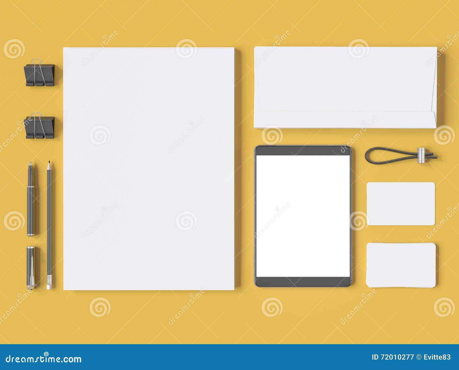 Grey Branding Mockup Template Set On Yellow Background