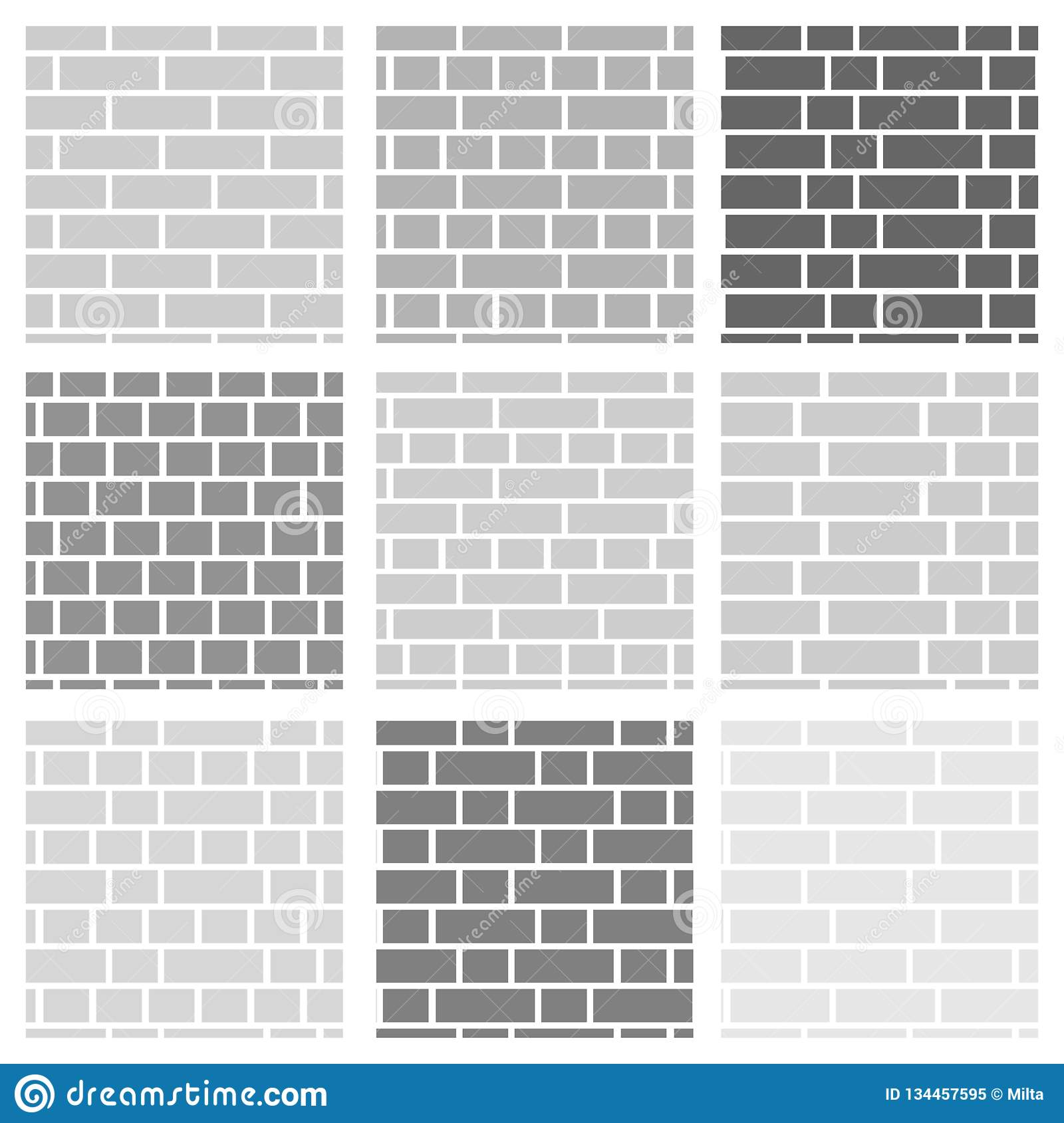 Brick Wall Background Set Of Seamless Vector Patterns Different
