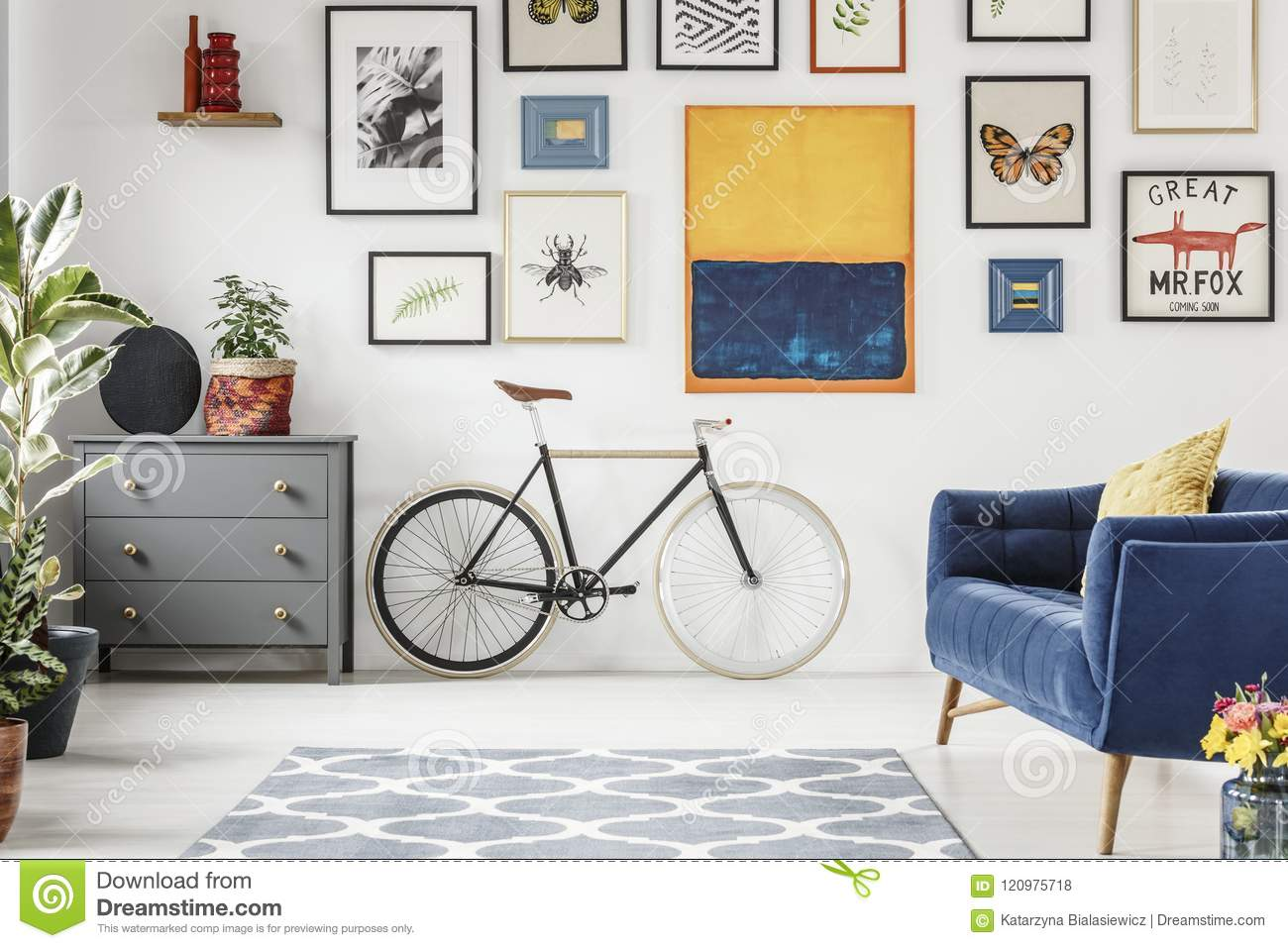 Super Grey Cabinet Next To Bicycle In Flat Interior With Blue Sofa Squirreltailoven Fun Painted Chair Ideas Images Squirreltailovenorg