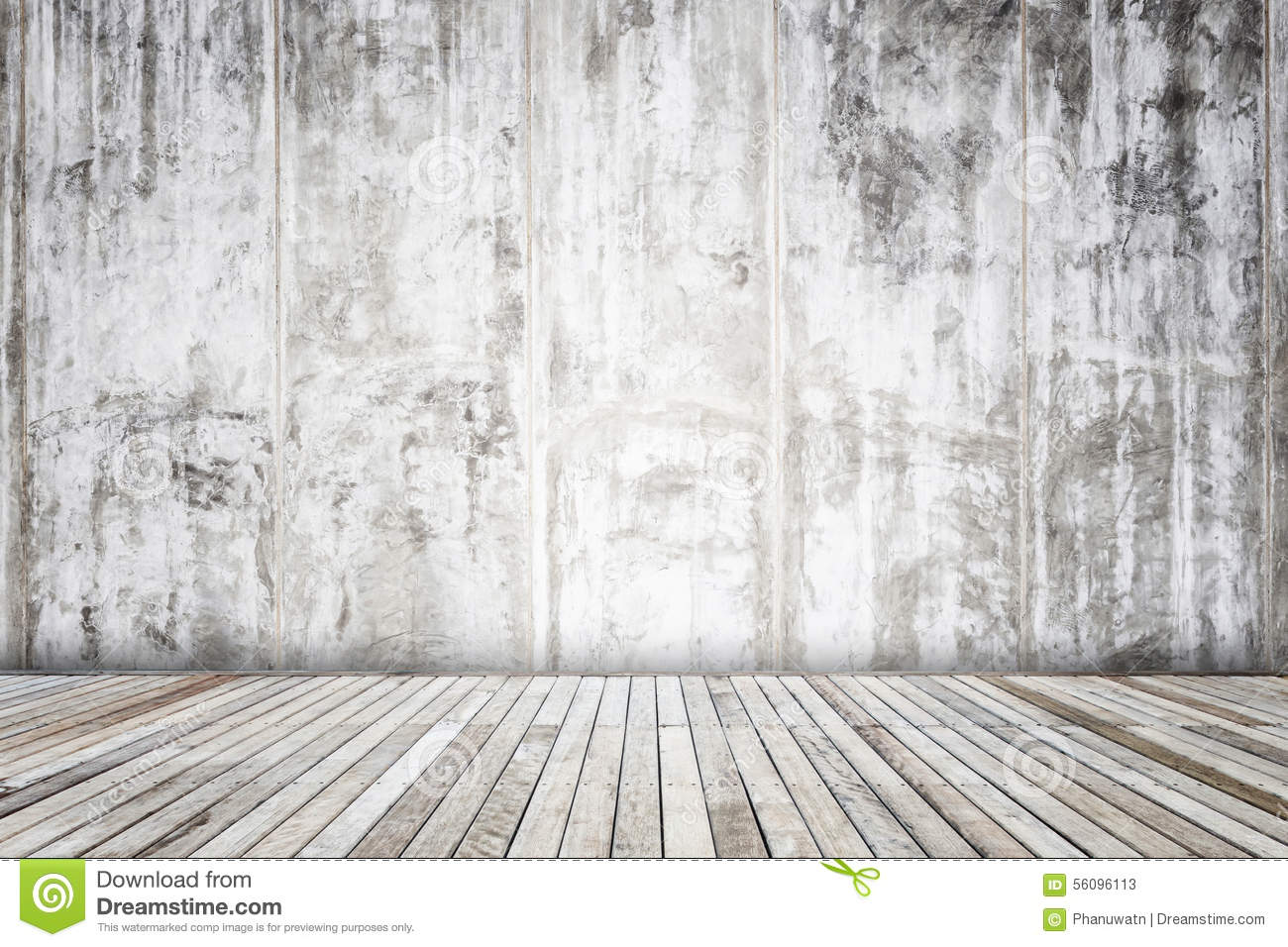 Grey Cement Wall With Wooden Plank Texture And Background