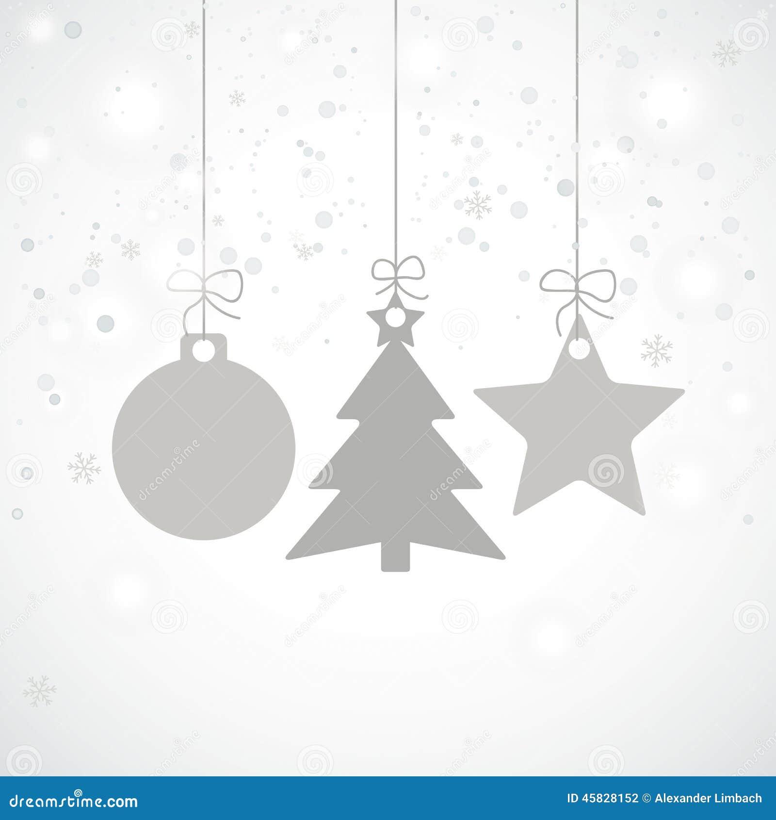 Grey Christmas Tree Grey Christmas Card Stars Tree Snowfall Stock Vector Image 45828152