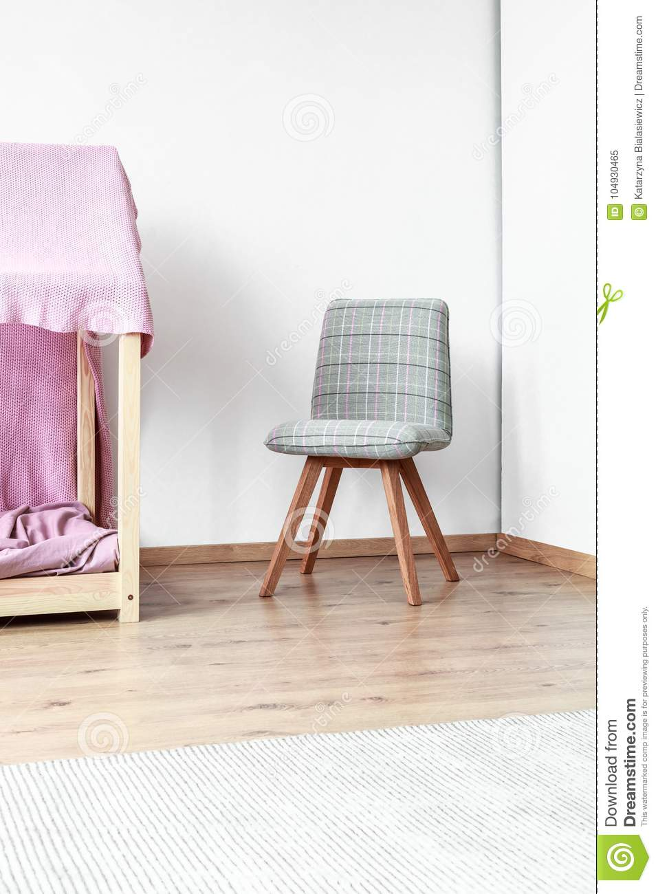 Tremendous Grey Classic Chair In Bedroom Stock Image Image Of Cozy Pabps2019 Chair Design Images Pabps2019Com