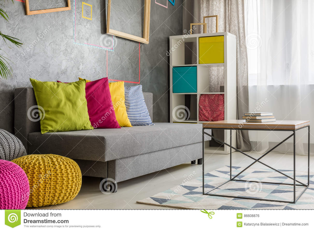Grey Couch With Colored Cushion Stock Photo Image Of Flat