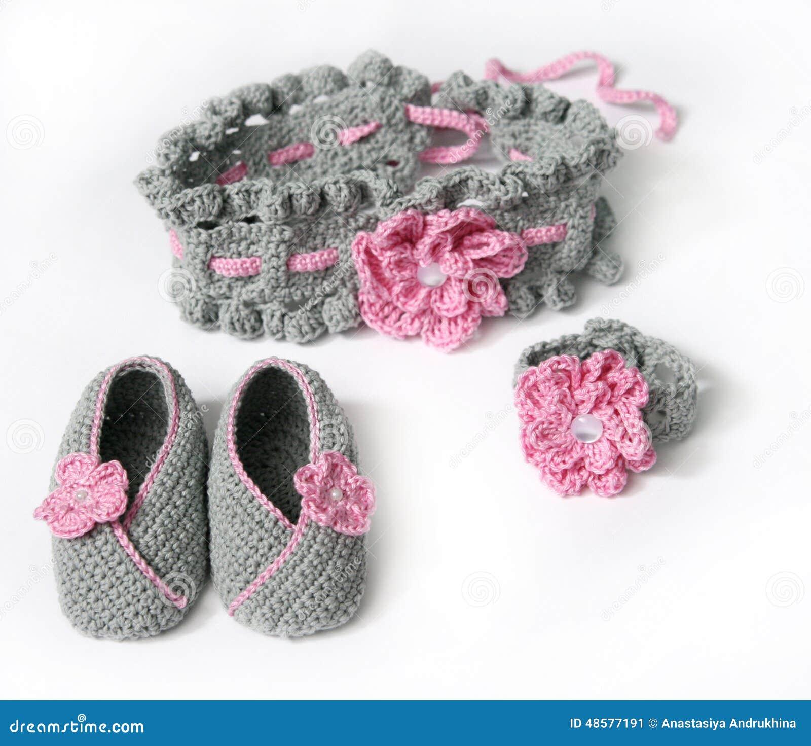 Grey Crochet Baby Booties And Headband With Stock Image Image Of