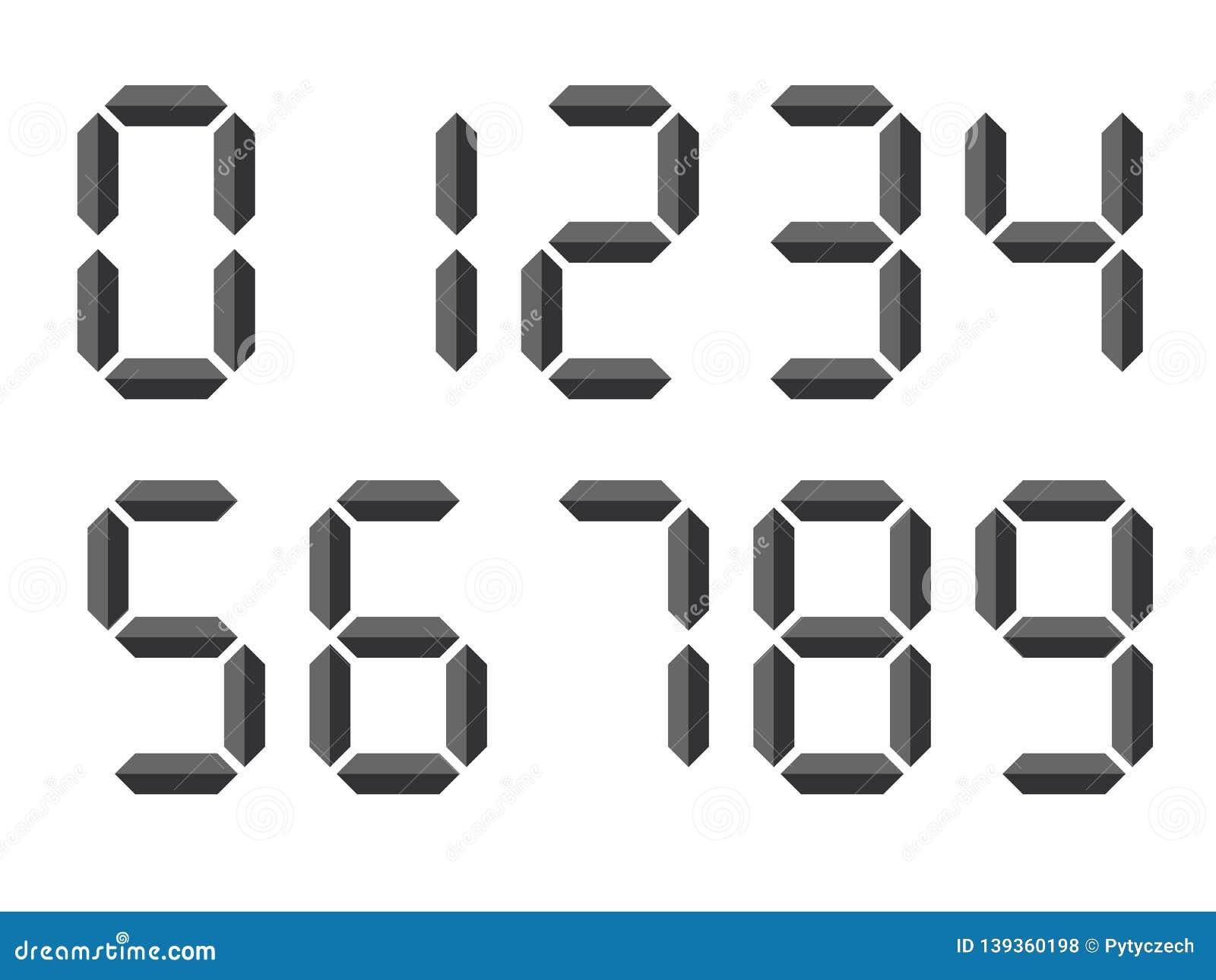 Grey 3D-like Digital Numbers  Seven-segment Display Is Used