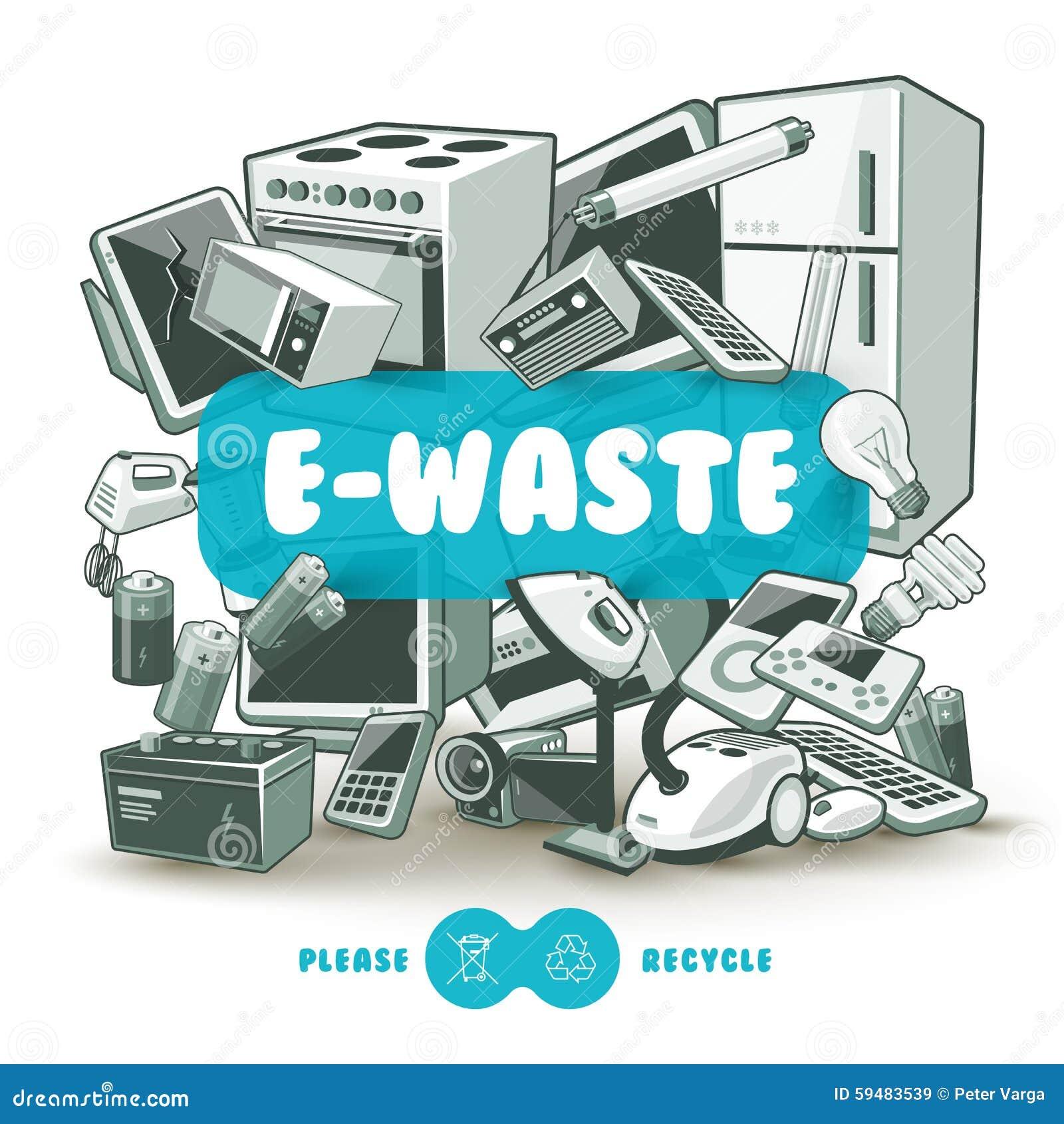 Vector E Sanitary Service : Grey e waste with blue sign board stock vector image