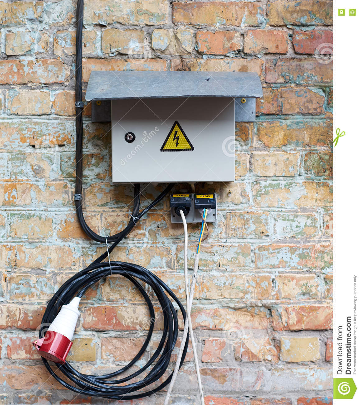 grey electrical box on wall background stock image image of AT&T Network Interface Device Wiring outdoor electric control cabinet for electrical equipment on brick wall with wires and plug jack knife switch on old dirty wall