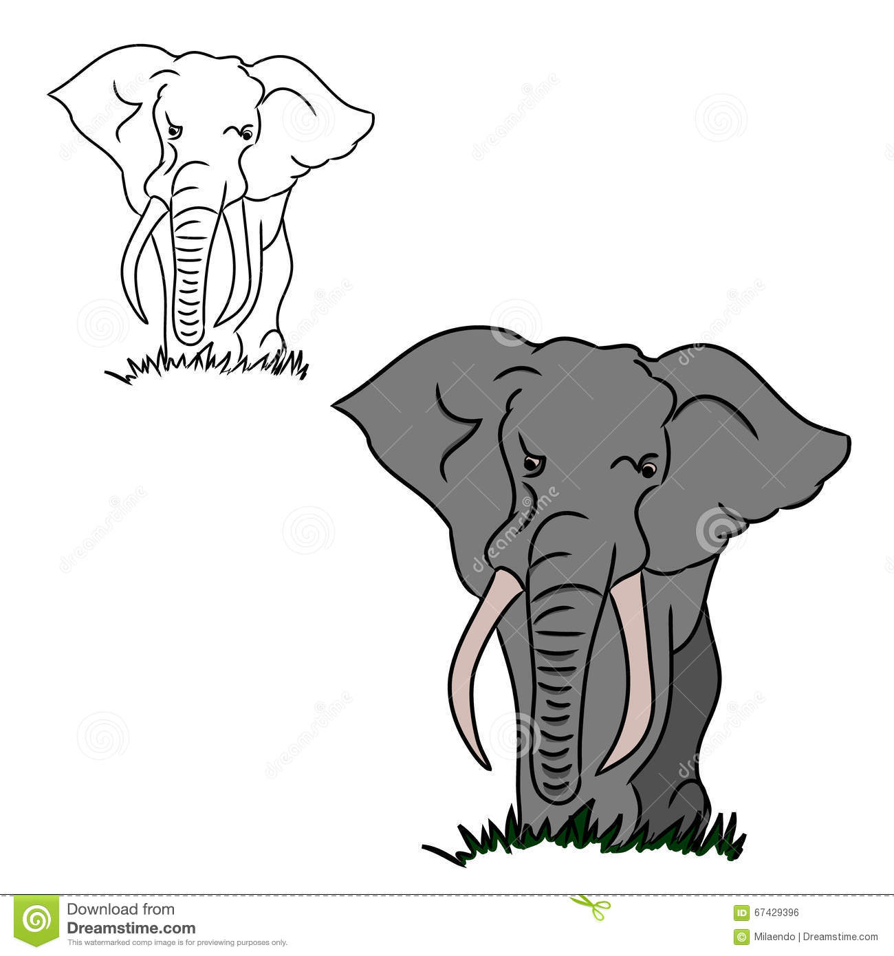 Grey elephant silhouettes stock vector. Illustration of abstract ...