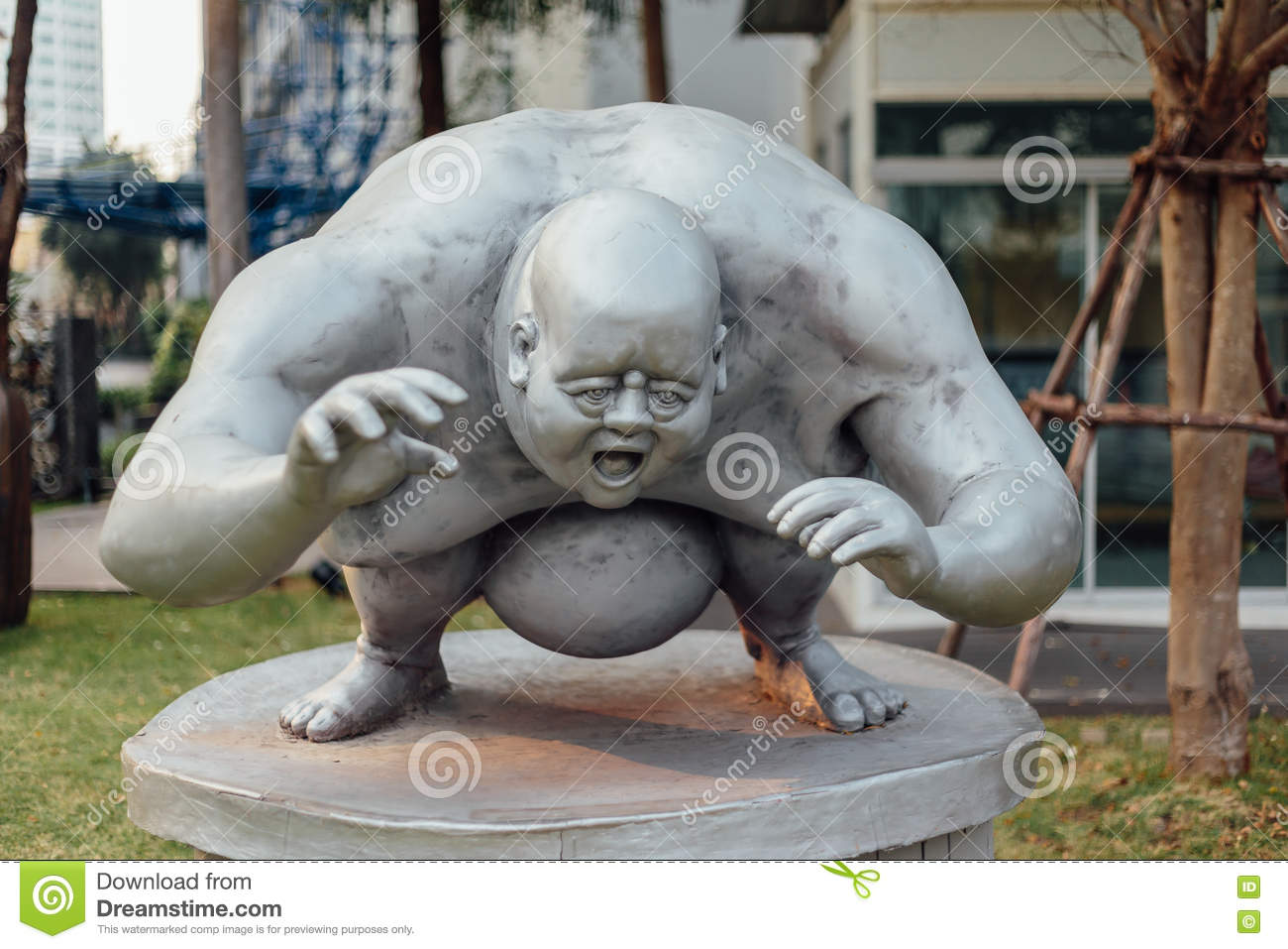 Grey Fat Guy Sculpture exterior
