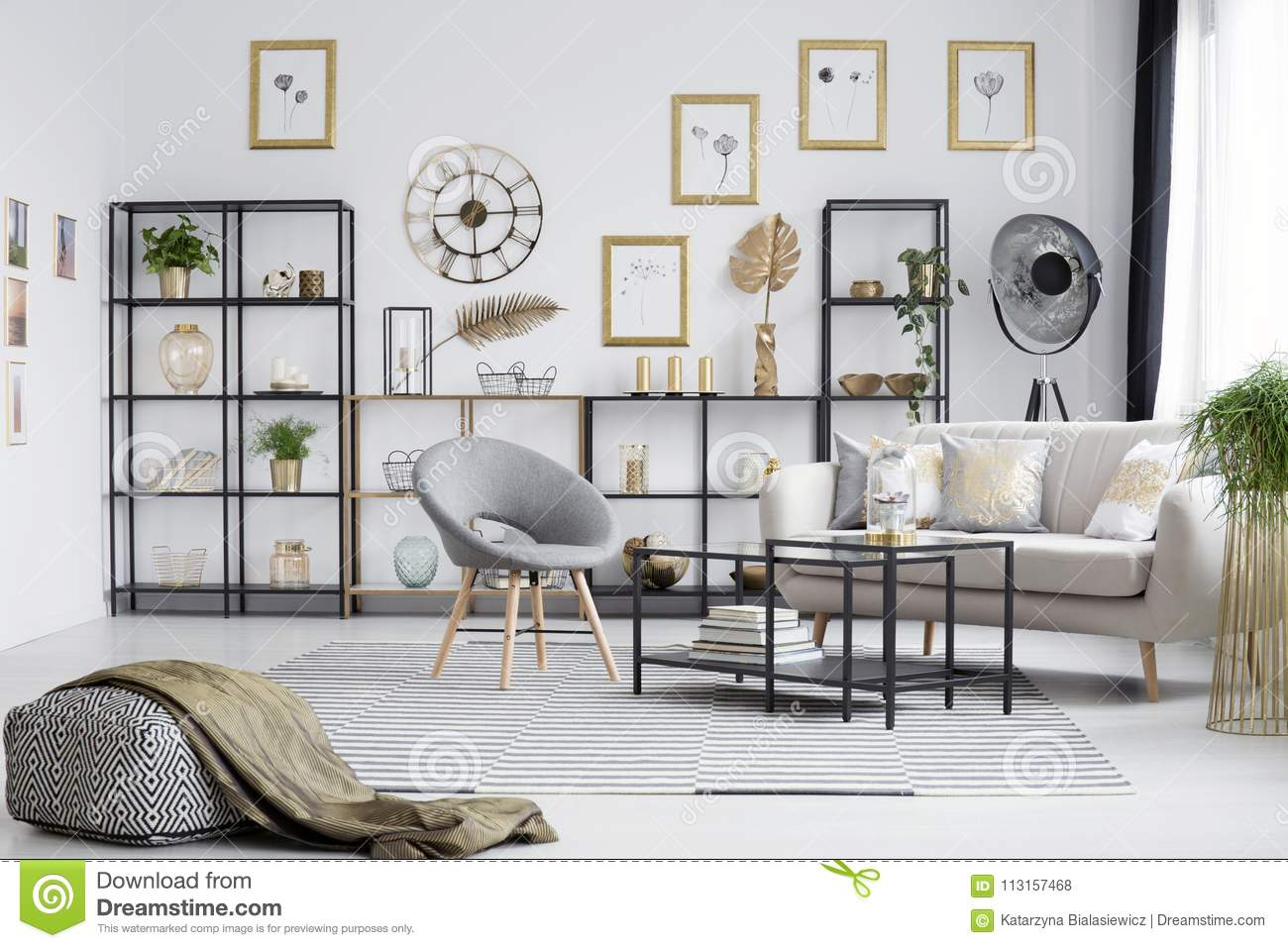 Grey and gold living room stock photo. Image of loft - 113157468