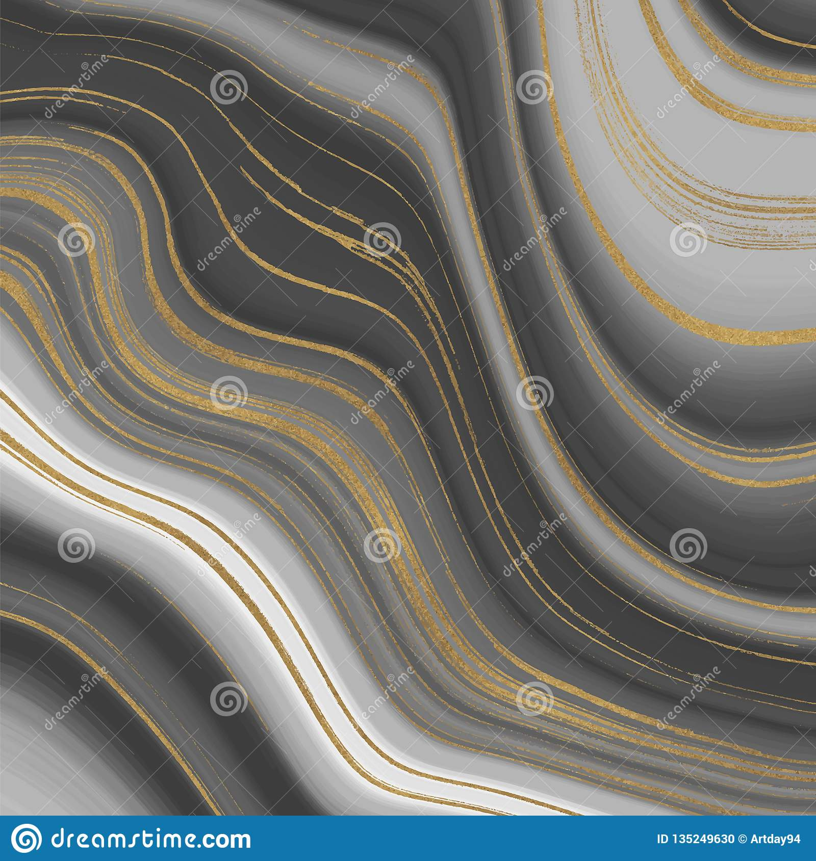 Grey And Golden Glitter Ink Painting Abstract Pattern Liquid Marble Texture Trendy Background For Wallpaper Flyer Poster Card Stock Illustration Illustration Of Black Golden 135249630
