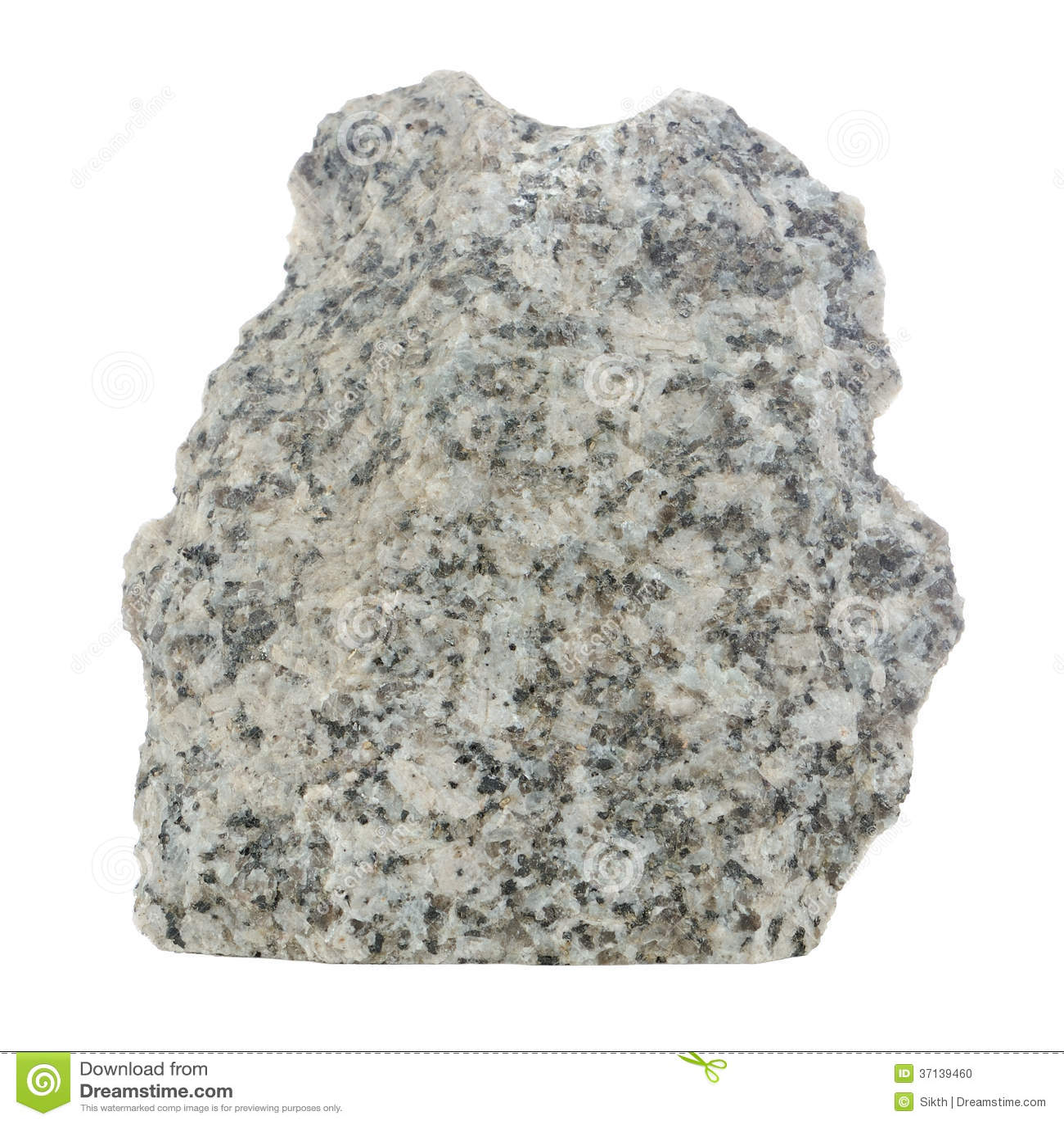White Granite Rock : Grey granite stone isolated on white background stock