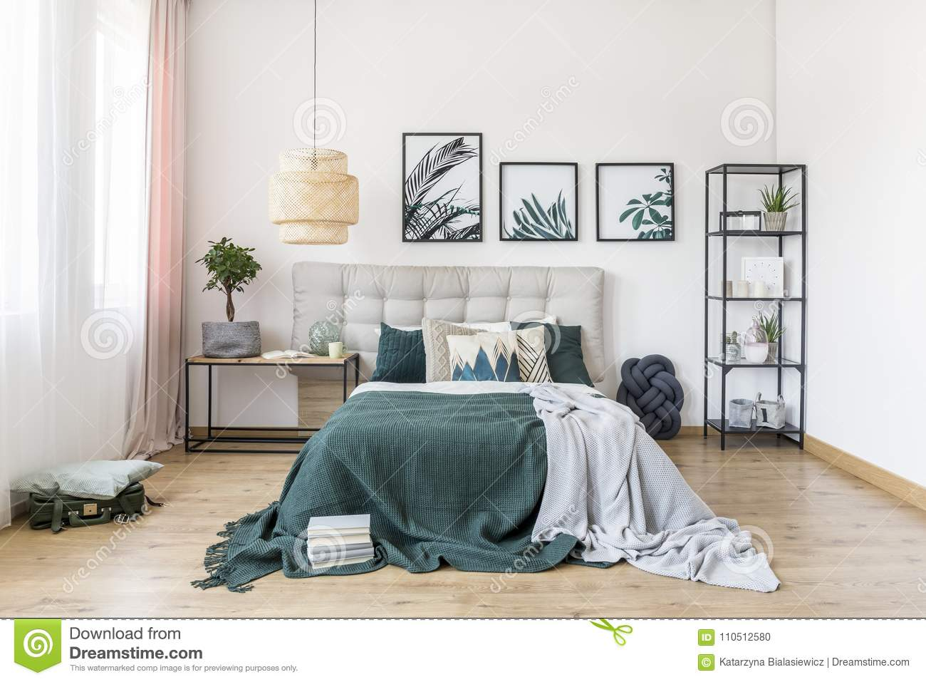 Green Bedroom Interior With Plant Stock Photo - Image of ...