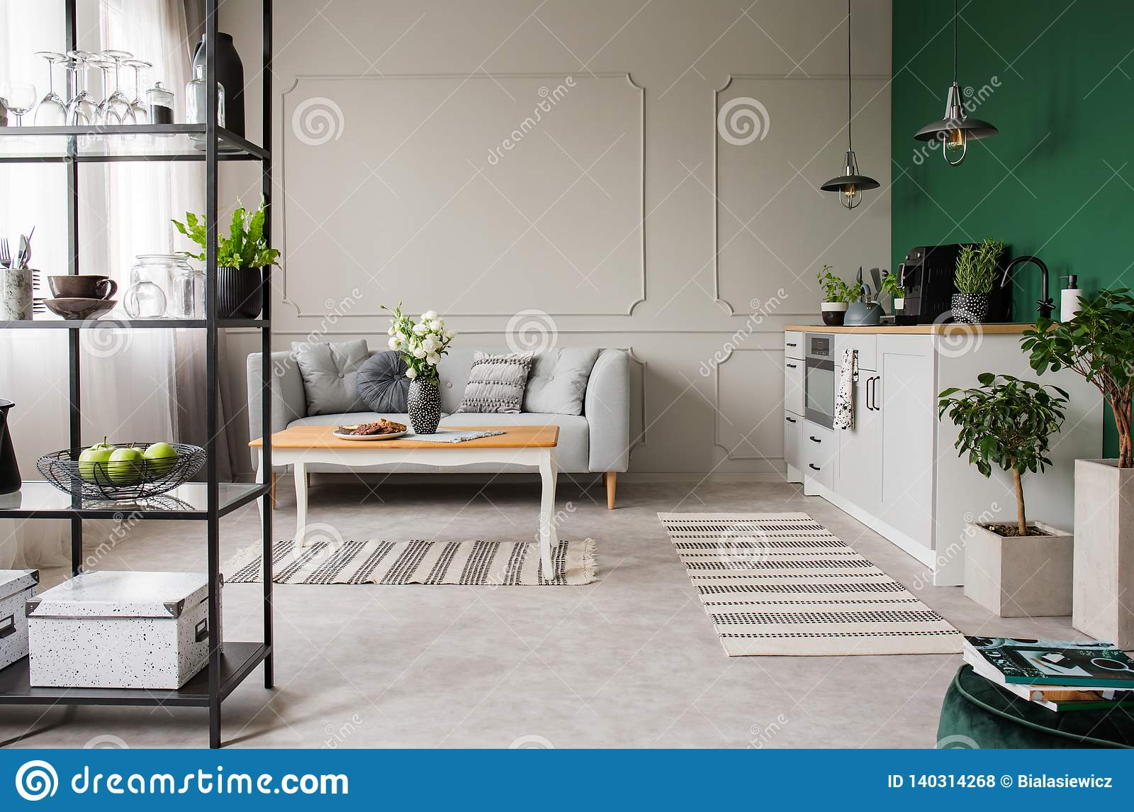 Grey And Green Open Plan Kitchen And Living Room, Real Photo ...