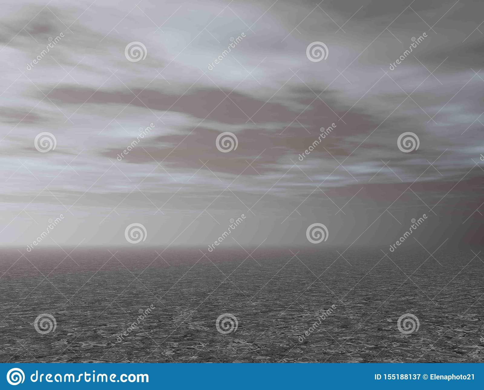 Grey ground by cloudy morning background - 3D render