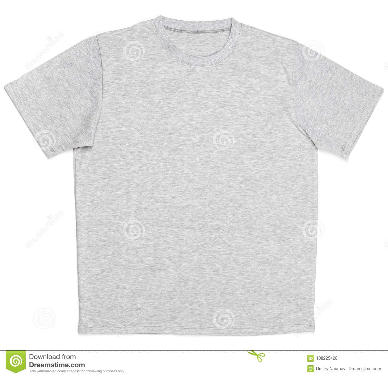 10cbc0dd0 Grey heathered shortsleeve cotton T-Shirt template isolated on a white  background
