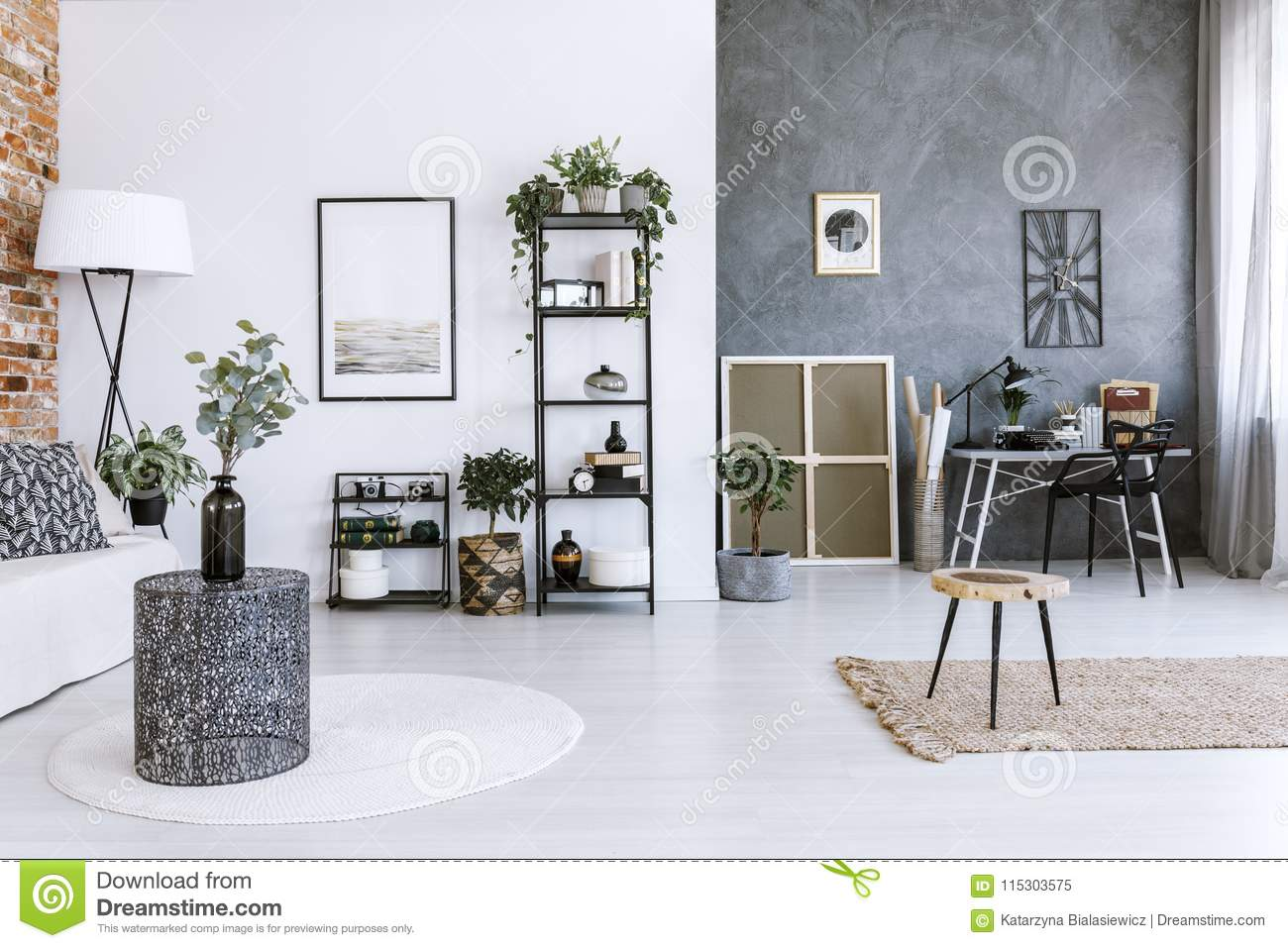 Grey Home Office With Plants Stock Image Image Of Decor Concrete 115303575