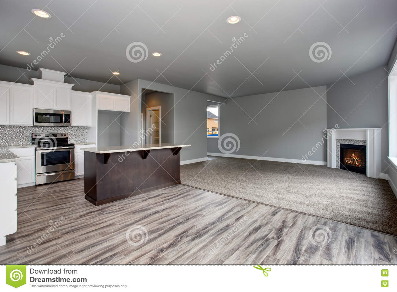 Grey house interior of kitchen room connected with the living room stock photo image 74849492 - Interior designs of houses and kitchens ...