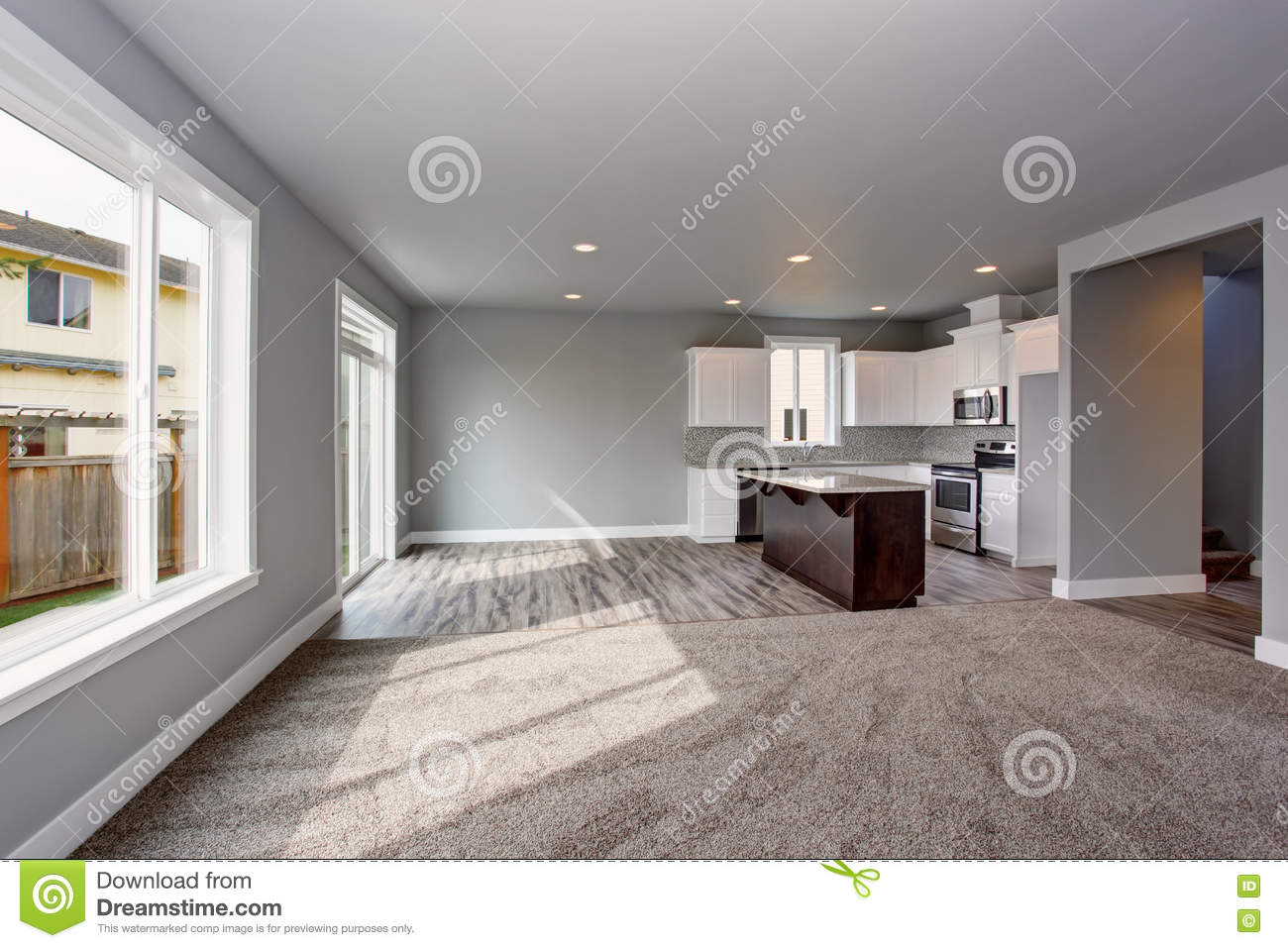 Grey House Interior Of Kitchen Room Connected With The Living Room Stock Image Image Of