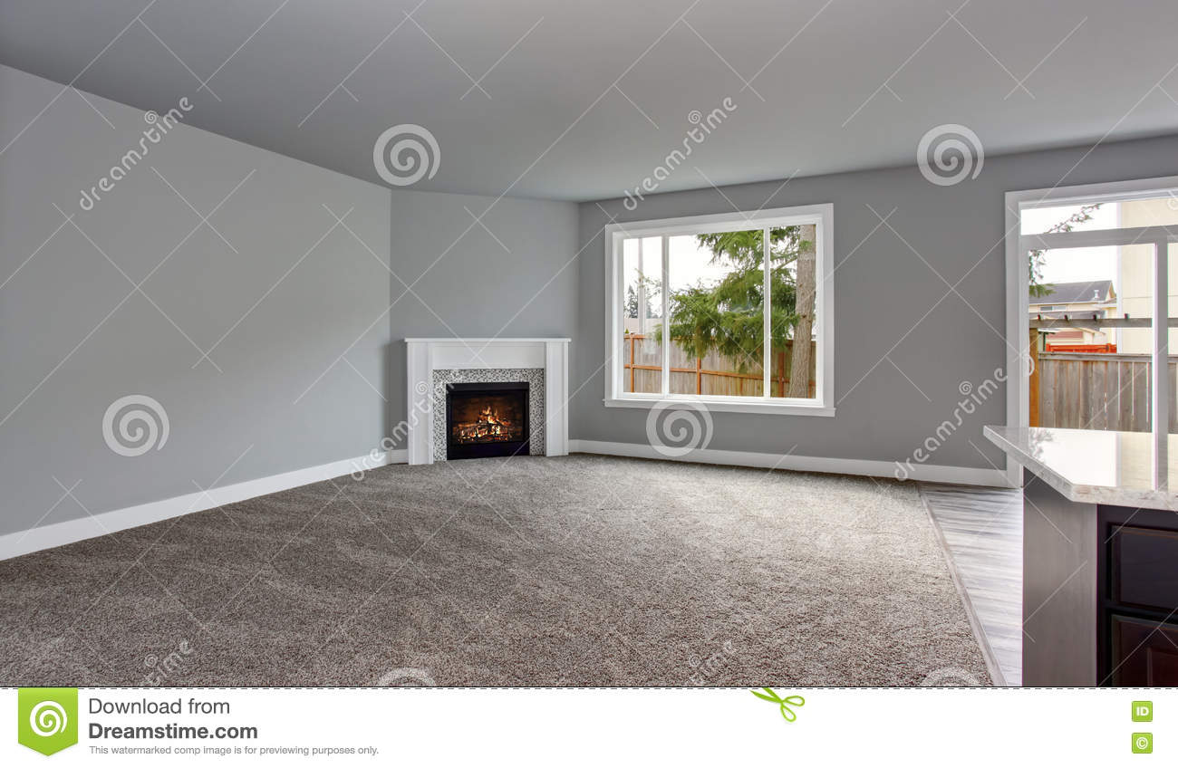 Grey House Interior Of Living Room With Firwplace And Carpet Floor.