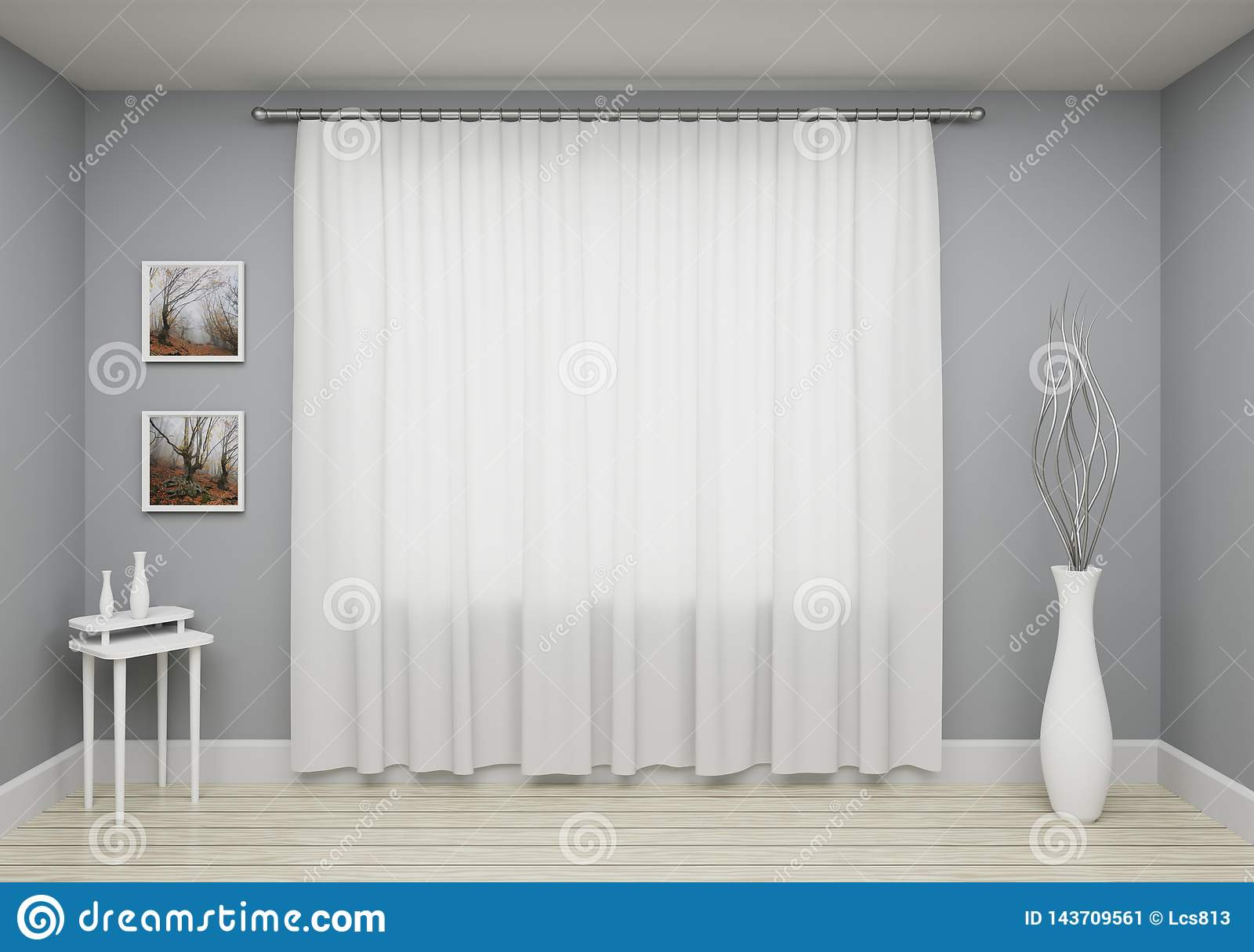 Grey Interior Living Room With Window And Curtain Decoration On Wall Template For Your Design Stock Illustration Illustration Of Room Simple 143709561