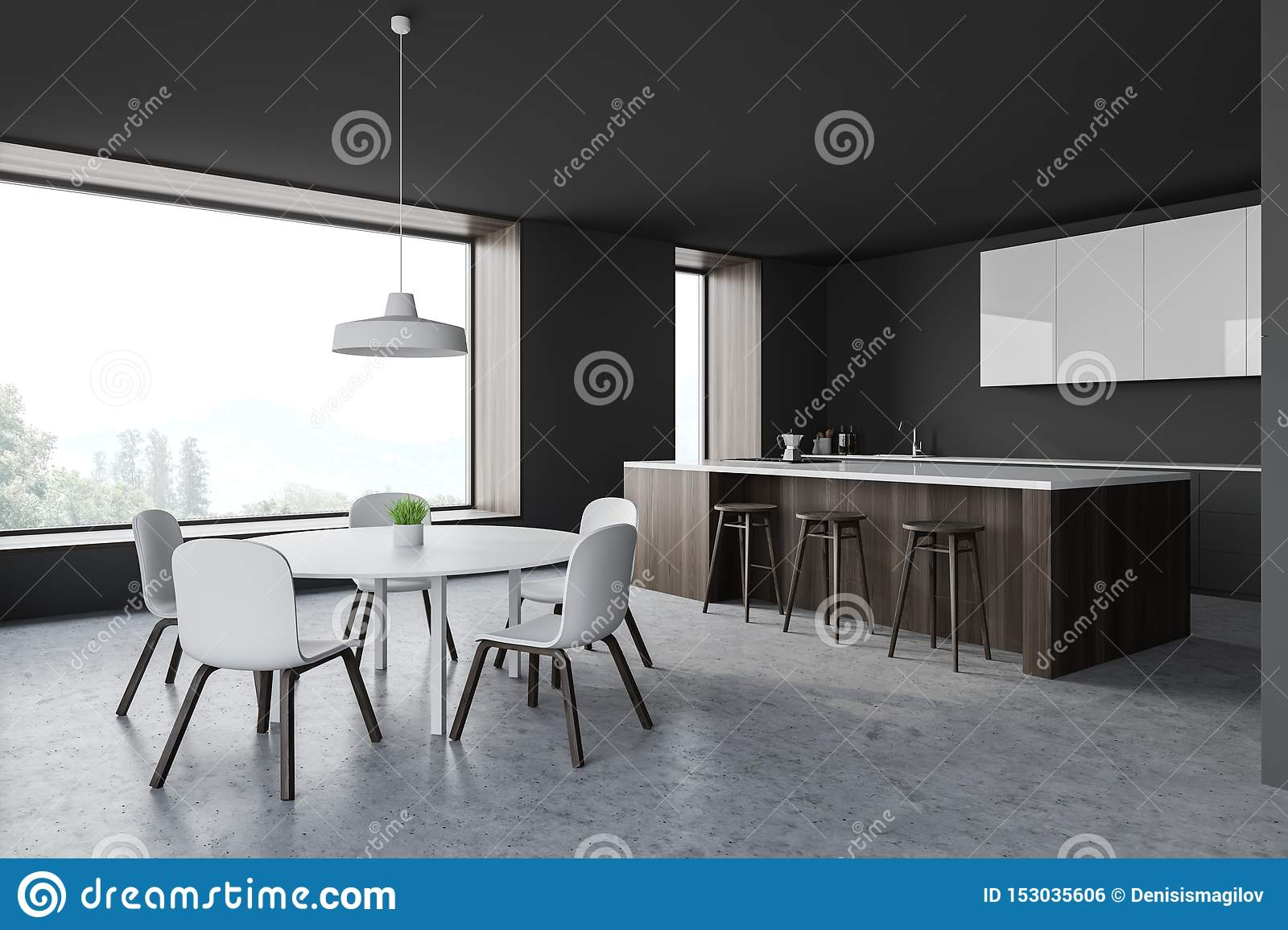 Grey Kitchen Corner With Bar And Table Stock Illustration ...
