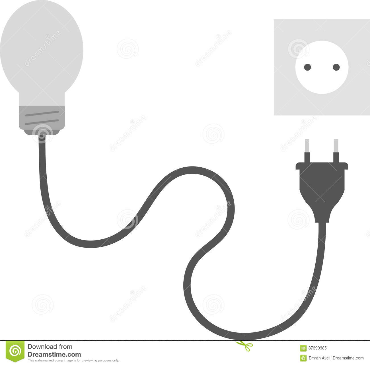 Grey Light Bulb With Plug And Outlet Stock Vector - Illustration of ...