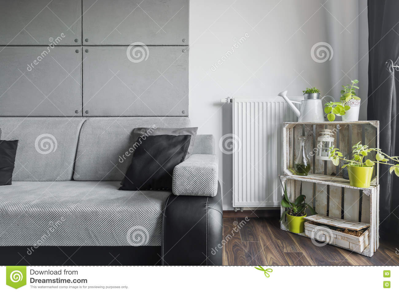 Grey Living Room With Creative Decor Stock Image - Image ...