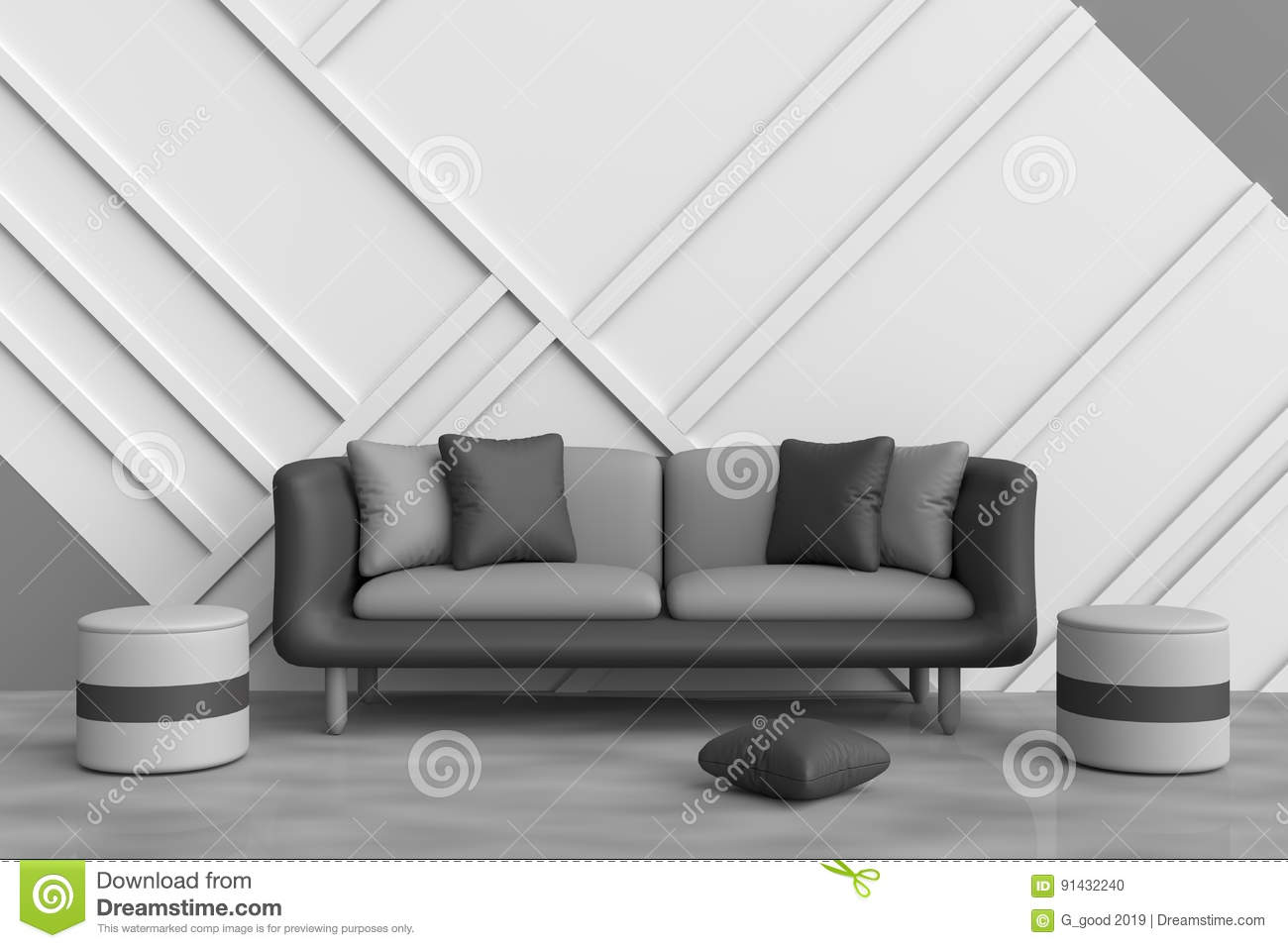Grey Living Room Are Decorated With Black Sofa, Black And Grey ...