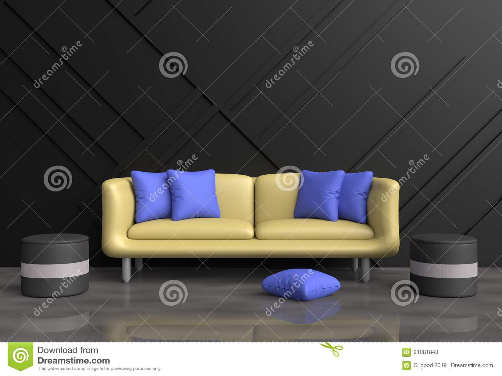 Elegant Purple and Grey Living Room Furniture