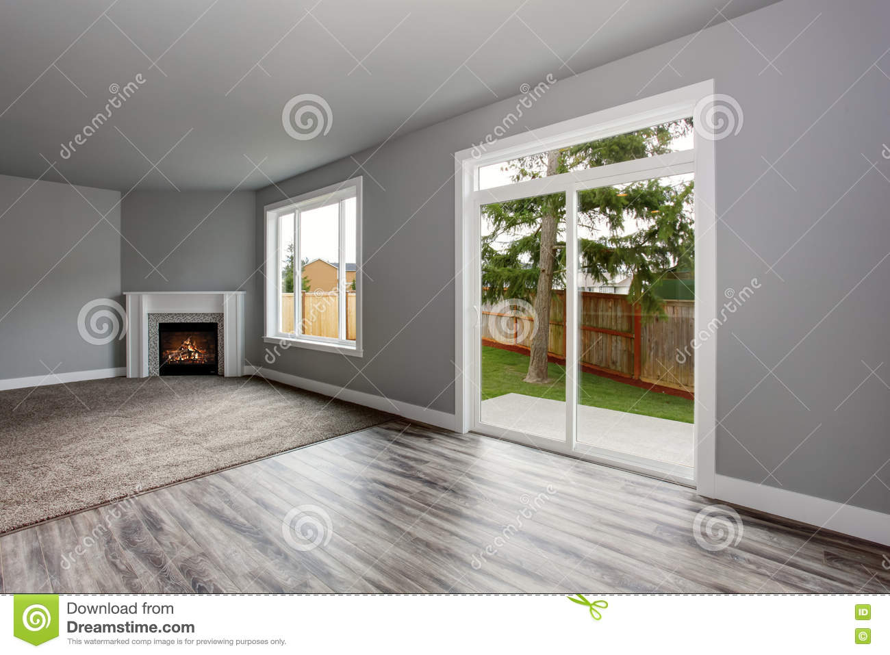 Grey Living Room Interior Windows And Glass Doors