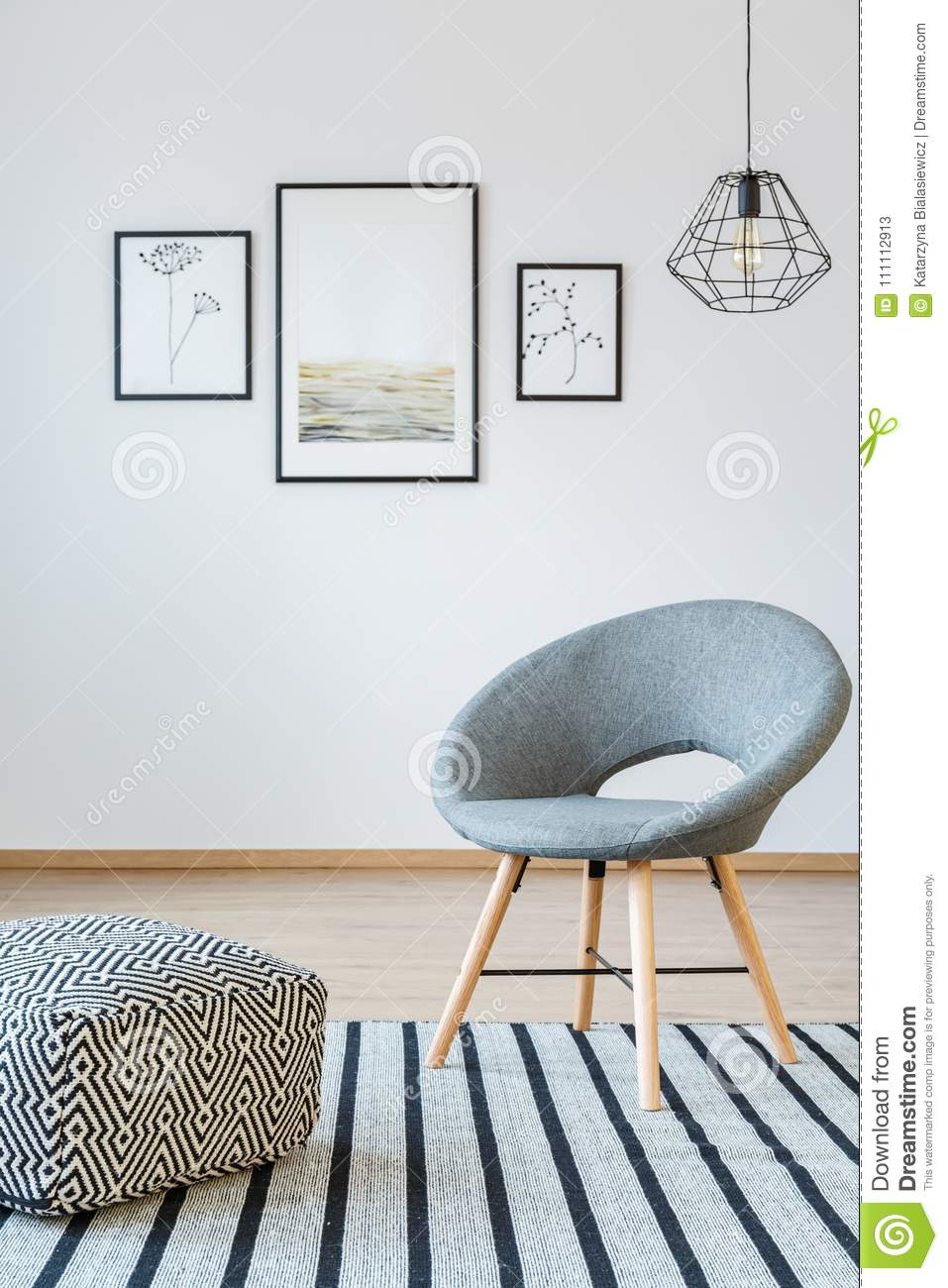 Grey Living Room With Posters Stock Image - Image of gallery, metal ...