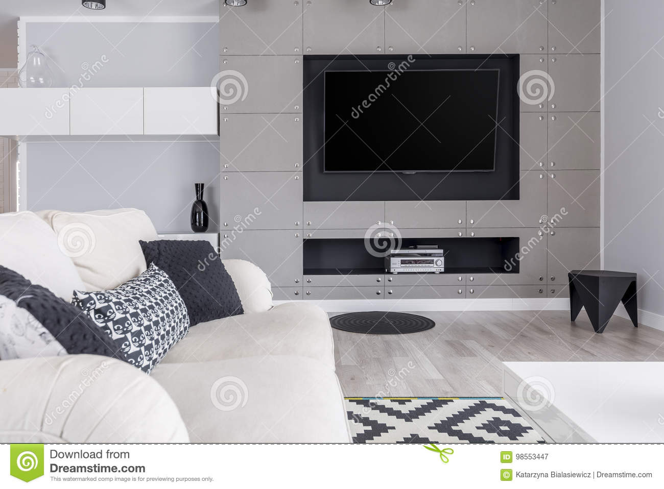 Grey Living Room With Tv Stock Image Image Of Stylish 98553447