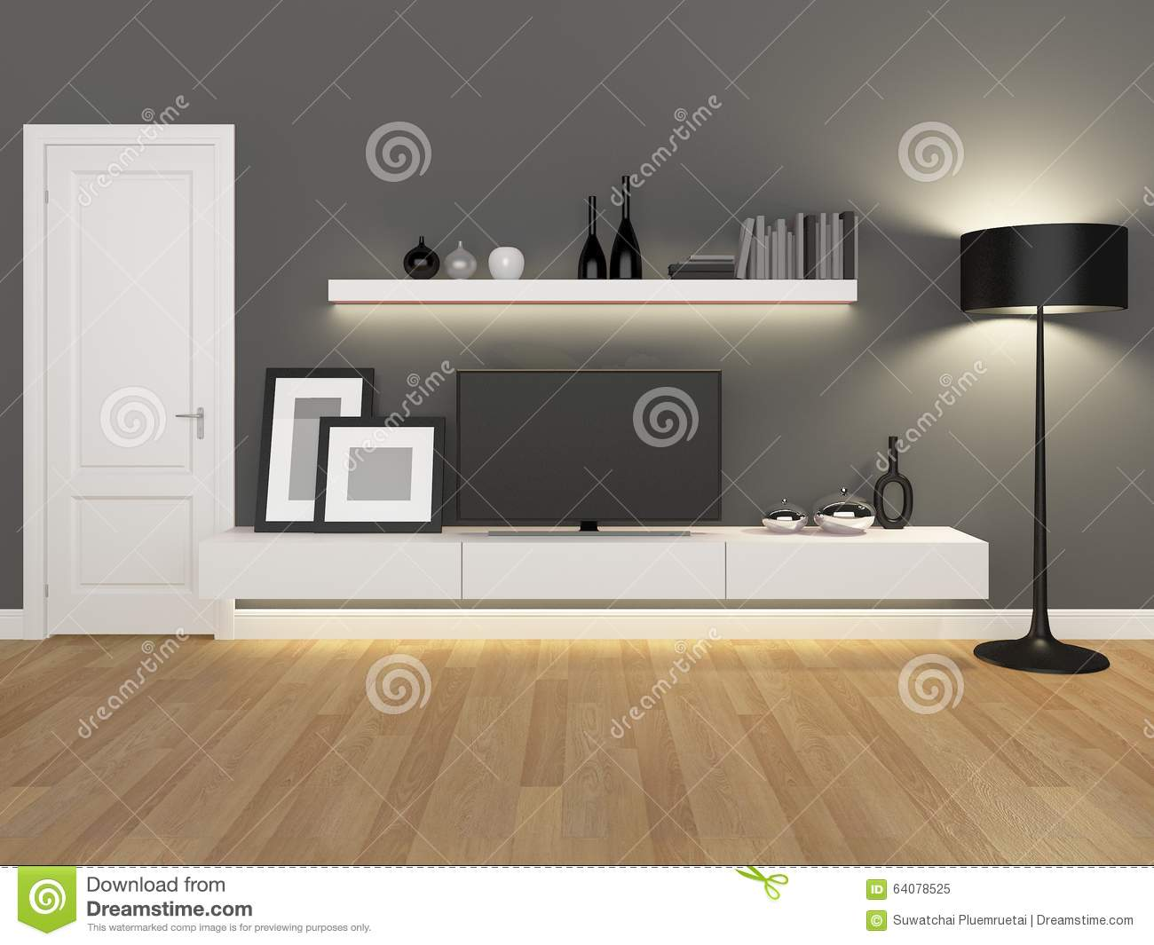 Grey Living Room With Tv Stand And Bookcase Photo Image – Tv Stand Bookcase