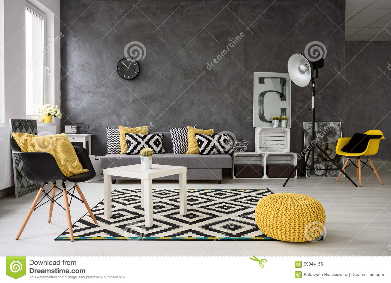 Grey Living Room With Yellow Details Stock Image - Image of ...