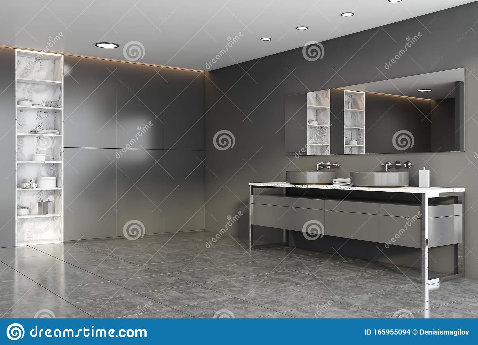 Grey And Marble Bathroom Corner With Double Sink Stock Illustration Illustration Of Minimalism Cabinets 165955094