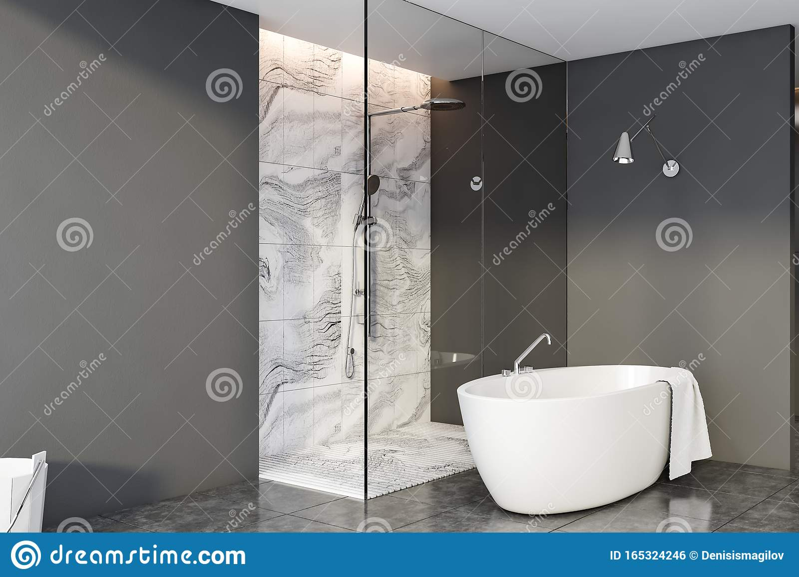Grey And Marble Bathroom Corner Shower And Tub Stock Illustration Illustration Of Comfortable Flat 165324246