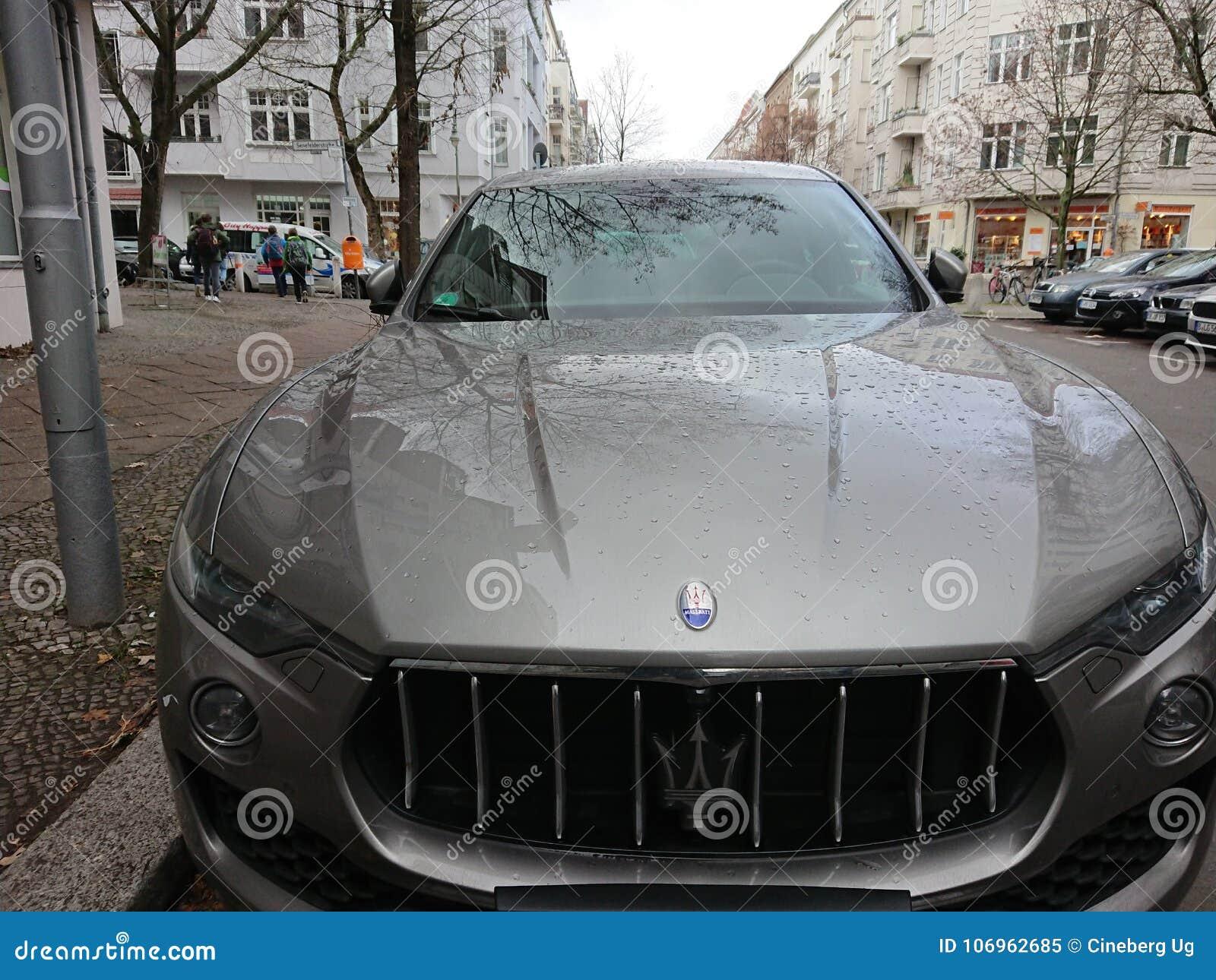 Grey Maserati Car With Trident Logo Editorial Image - Image of land ...