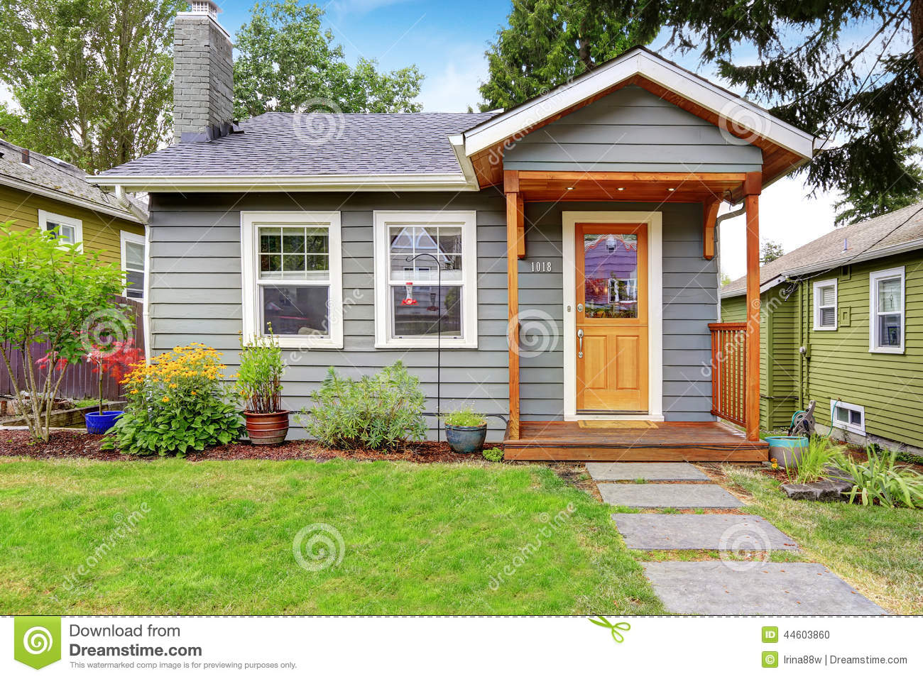 Grey Old House With Wooden Trim Stock Photo Image
