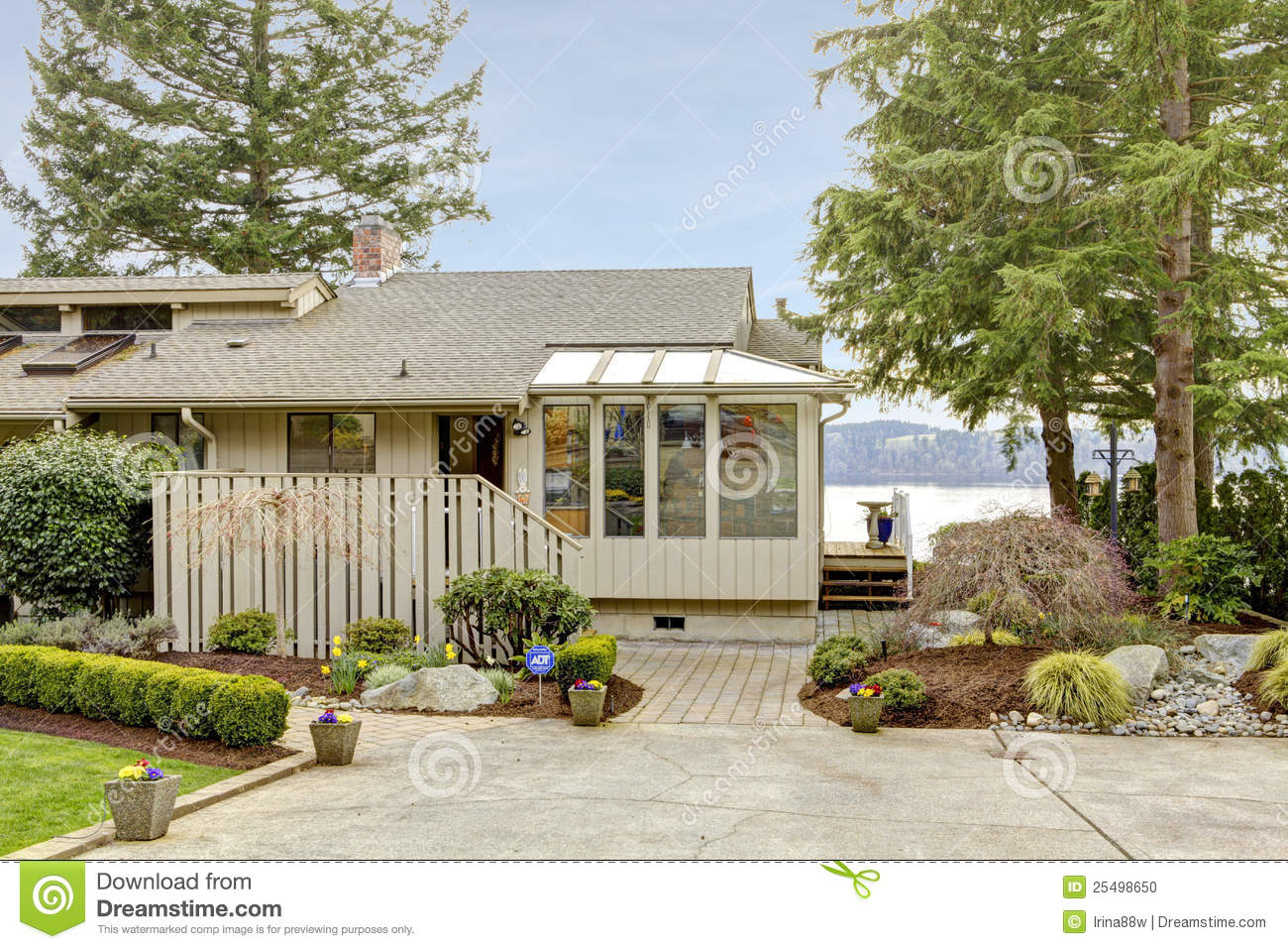 Grey One Story House Front Exterior Stock Photo Image