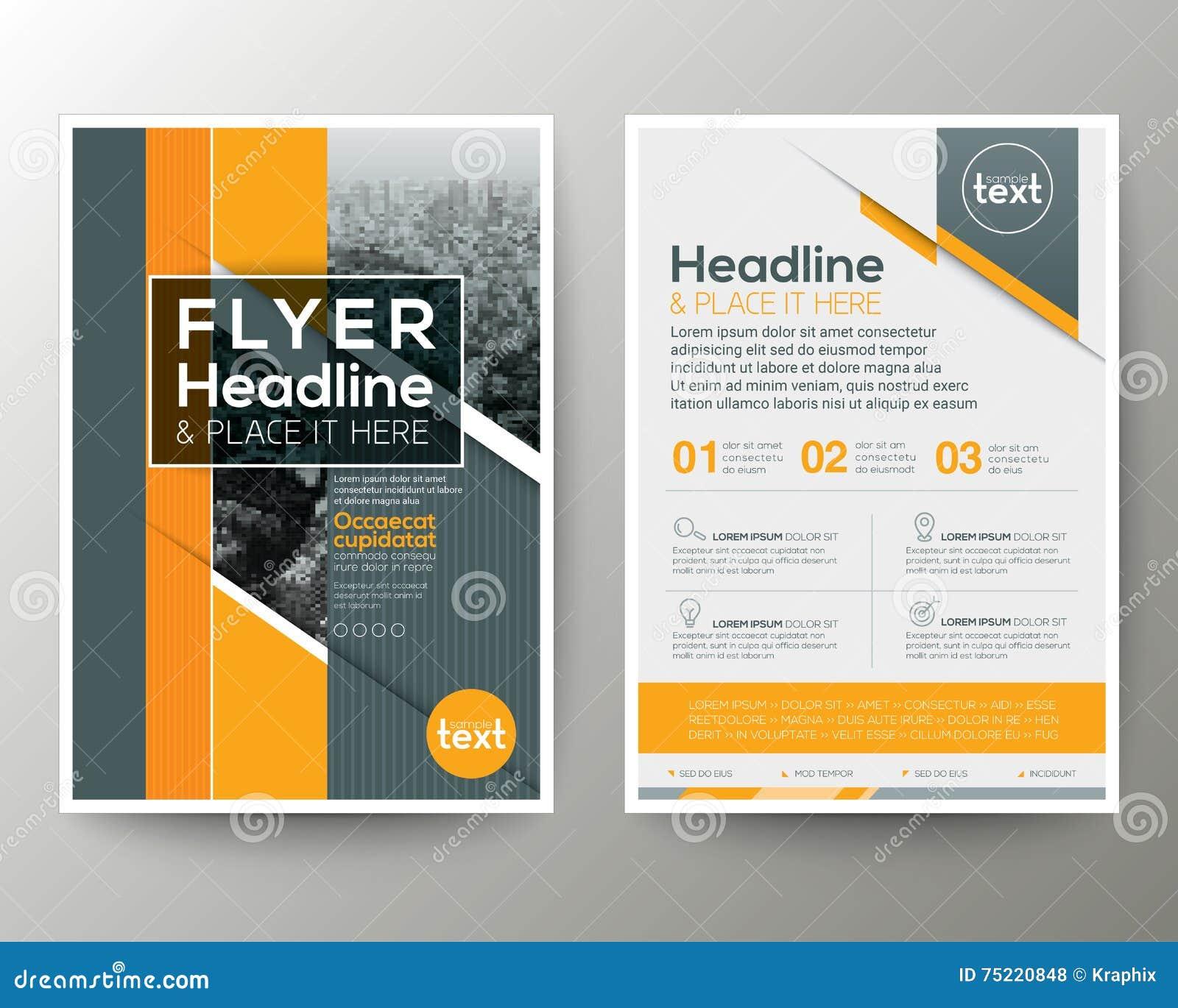 4cef5a03622863 Grey And Orange Geometric Background Poster Brochure Flyer Leaflet ...