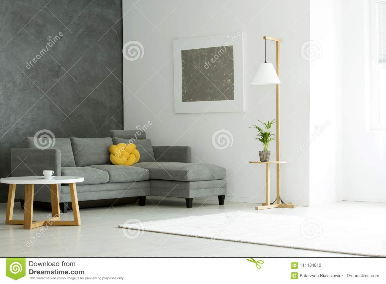 Grey Painting In Living Room Stock Photo - Image of simple, bright ...