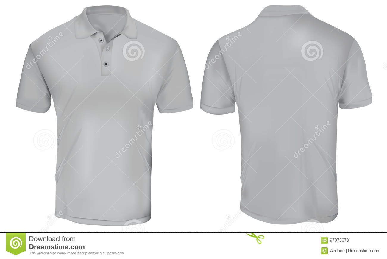 af8c2a00 Vector illustration of blank grey polo t-shirt template, front and back  design isolated on white
